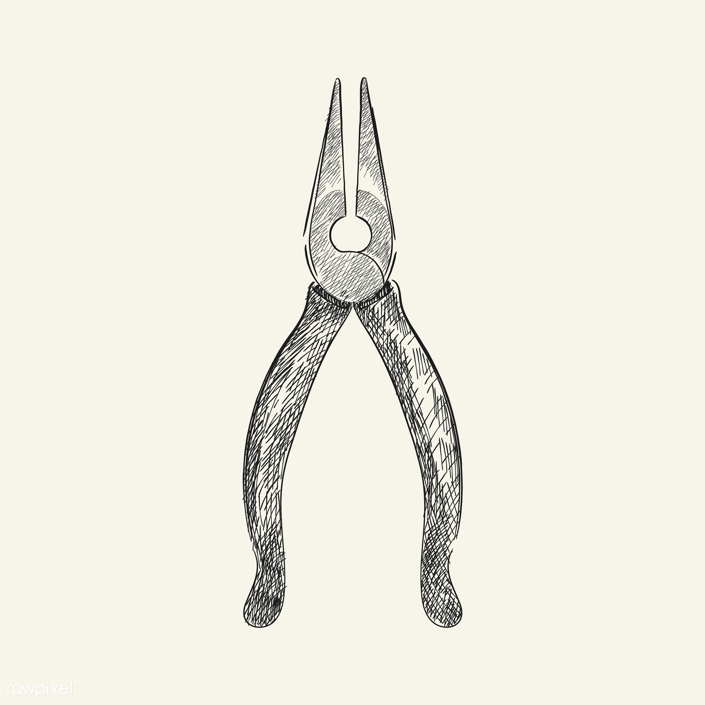 Vintage illustration of pliers - antique, black, design, drawing, equipment, graphic, hand drawing, hand drawn, icon,...
