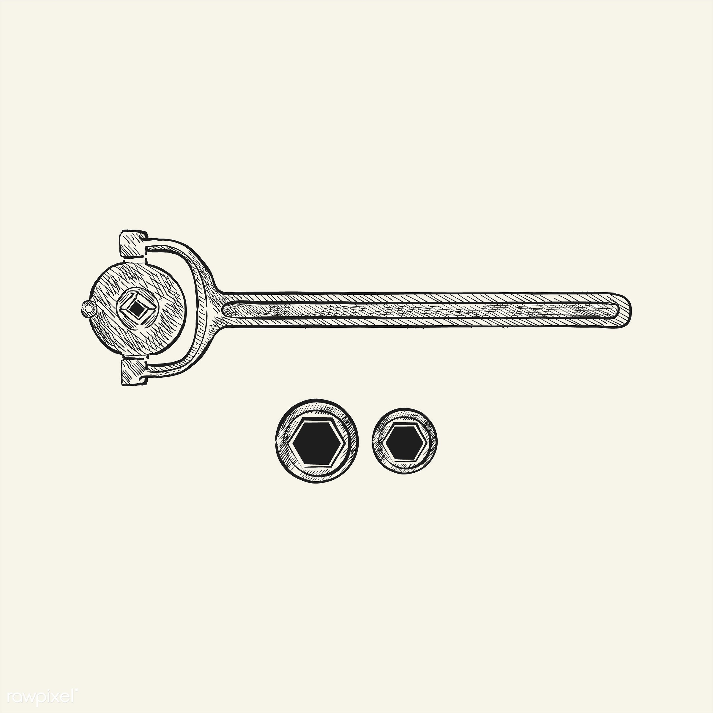 Vintage illustration of a wrench - antique, black, design, drawing, equipment, graphic, hand drawing, hand drawn, icon,...