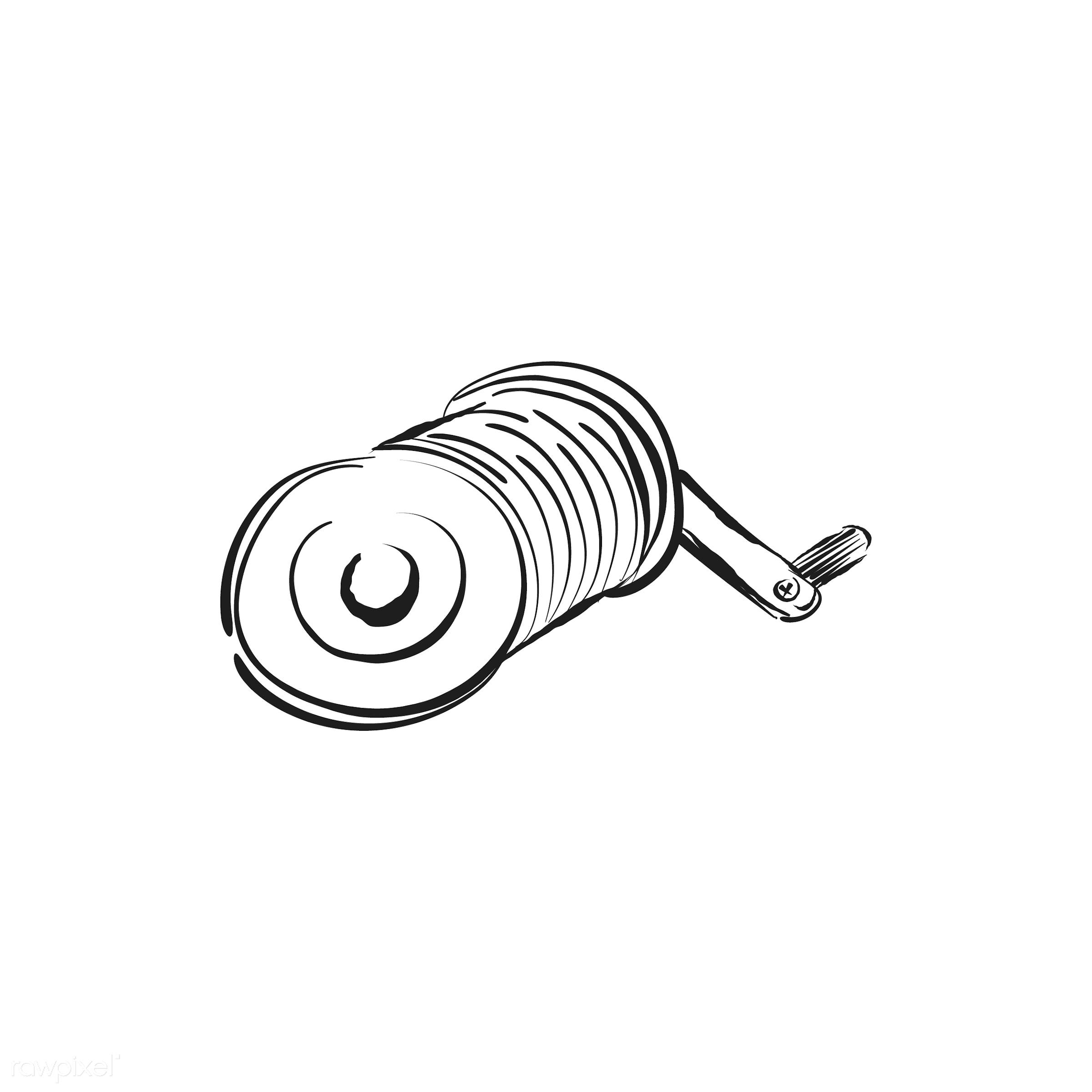 Vintage illustration of a fishing rod spinning reel - antique, black, design, drawing, equipment, fisherman, fishing,...