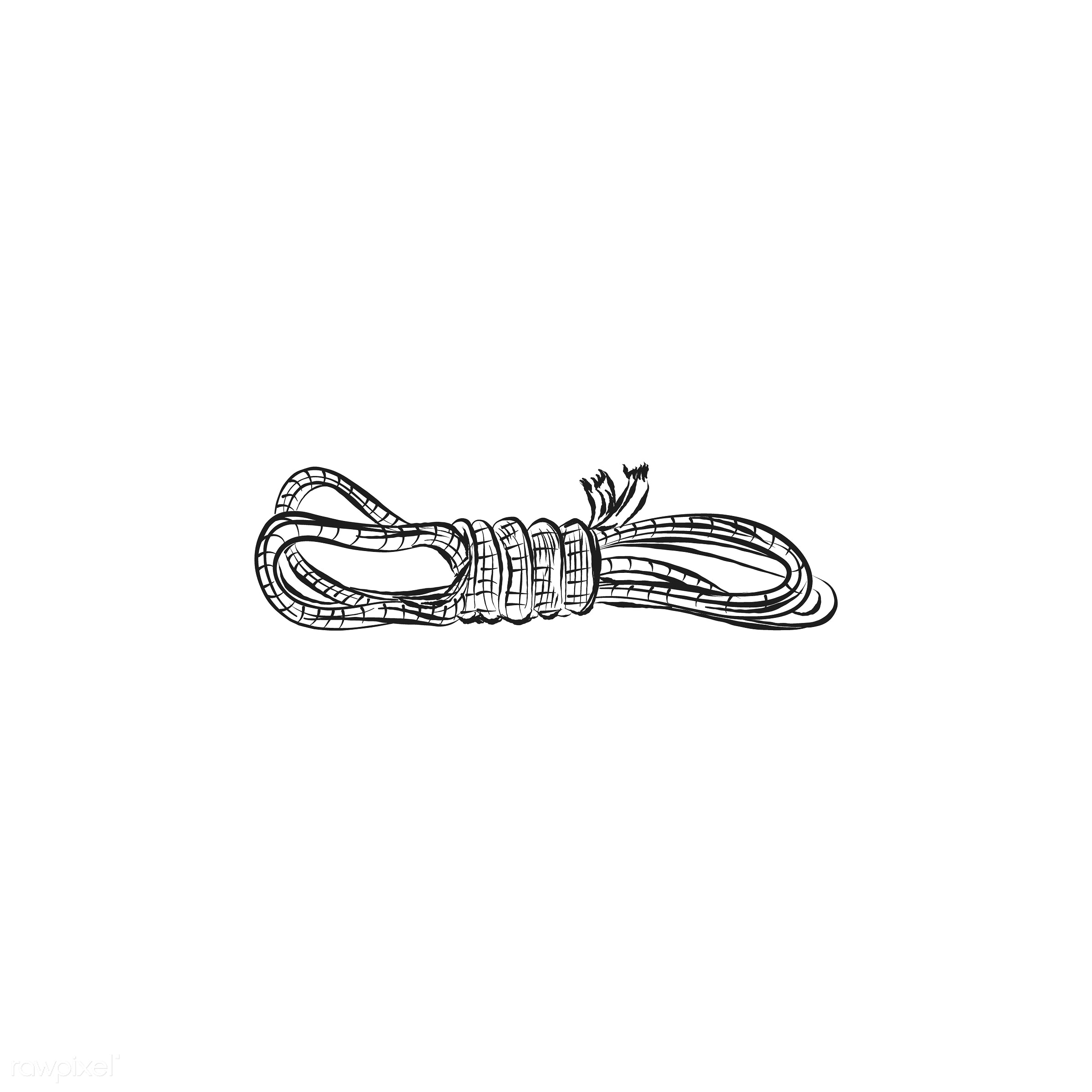 Vintage illustration of rope - antique, black, design, drawing, equipment, fisherman, fishing, graphic, hand drawing, hand...