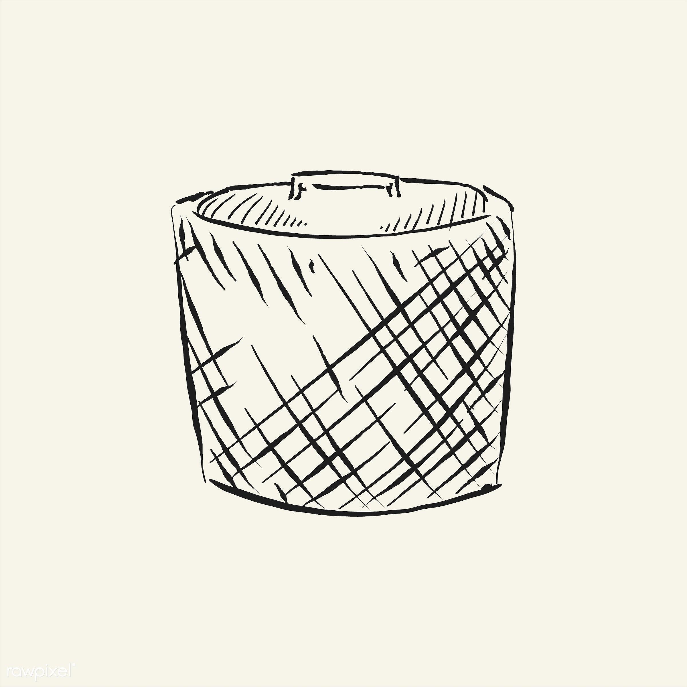 Vintage illustration of a basket - antique, black, design, drawing, equipment, fisherman, fishing, fishnet, graphic, hand...