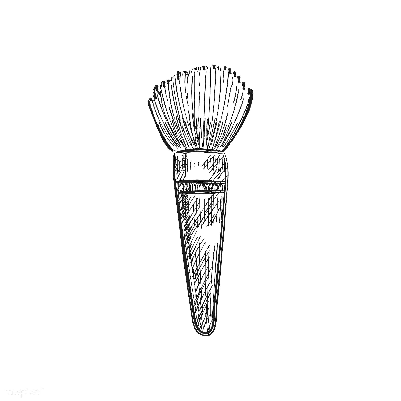 Vintage illustration of a makeup brush - beauty, antique, black, blush brush, brush, cosmetics, design, drawing, equipment,...