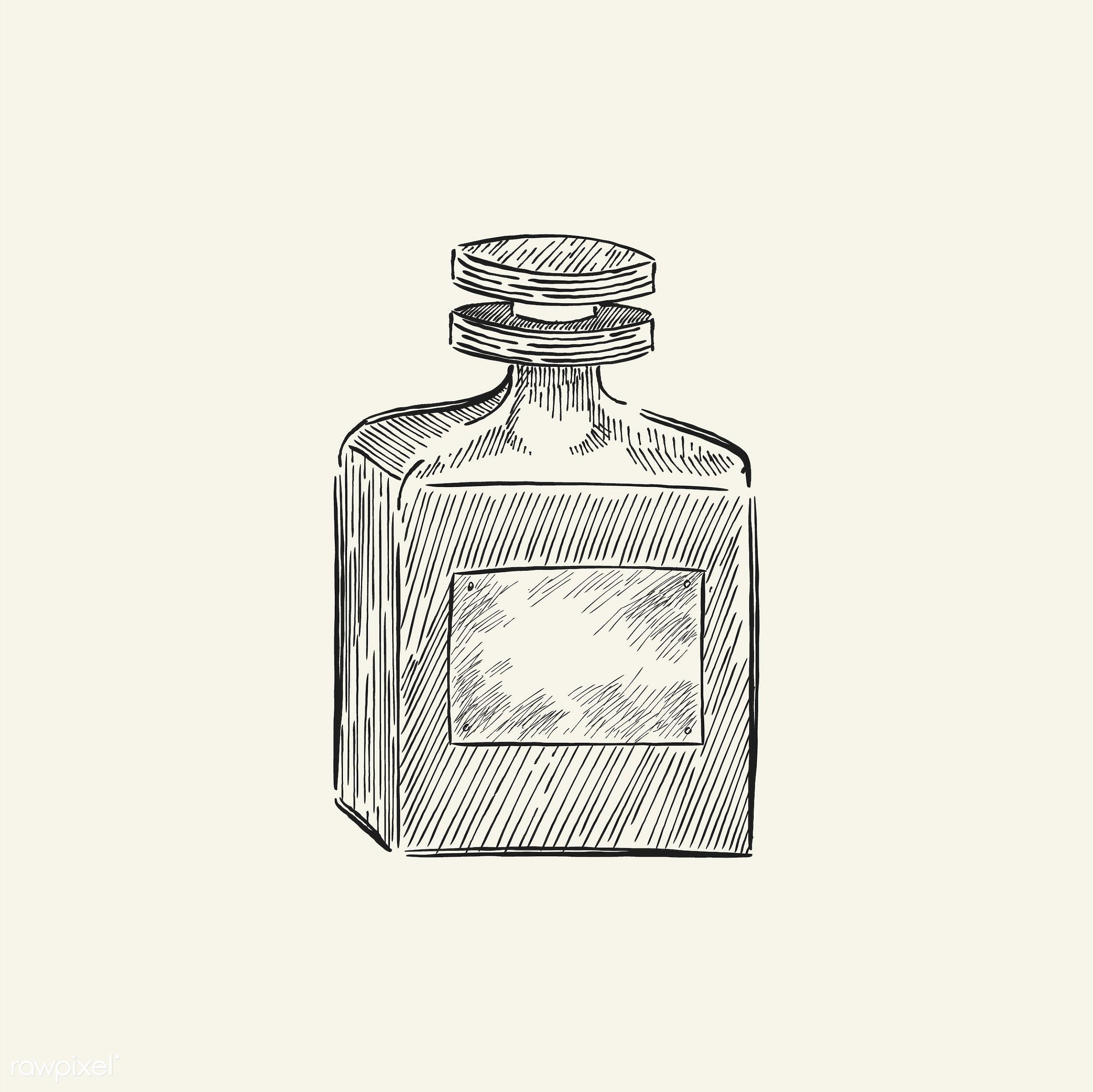 Vintage illustration of a parfume bottle - antique, beauty, black, bottle, cosmetics, cream, design, drawing, equipment,...