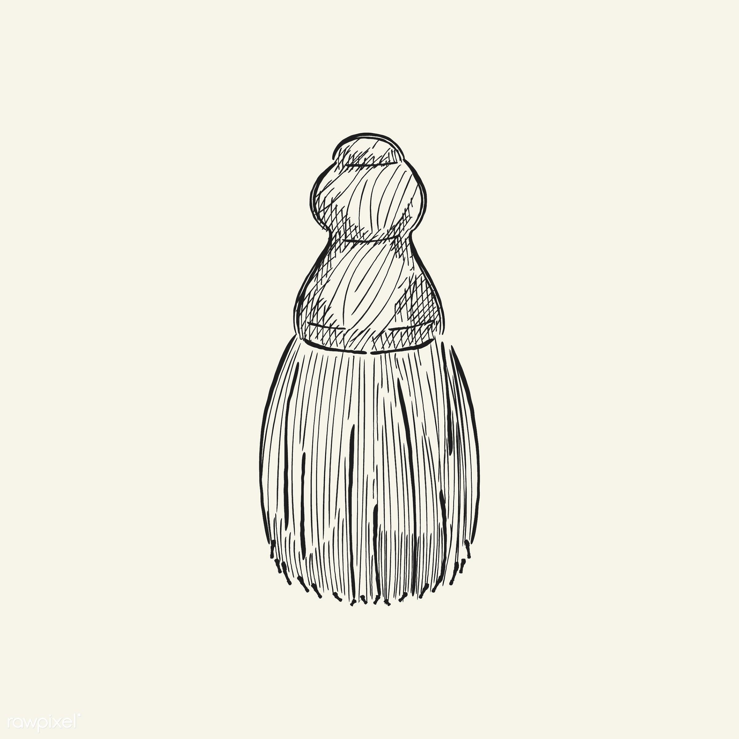 Vintage illustration of a shave brush - antique, beauty, black, brush, cosmetics, design, drawing, equipment, feminine,...