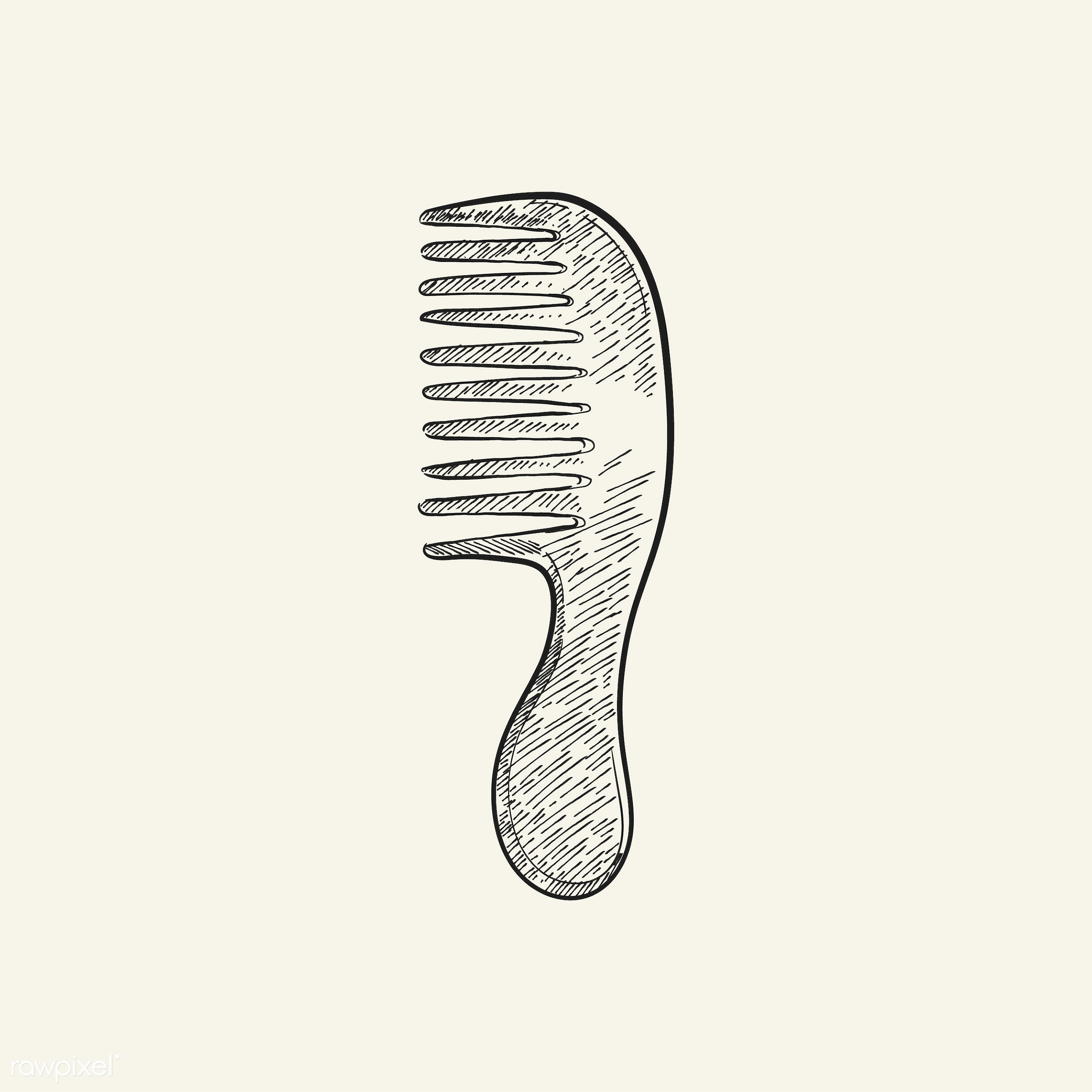 Vintage illustration of a comb - antique, beauty, black, comb, cosmetics, design, drawing, equipment, feminine, graphic,...