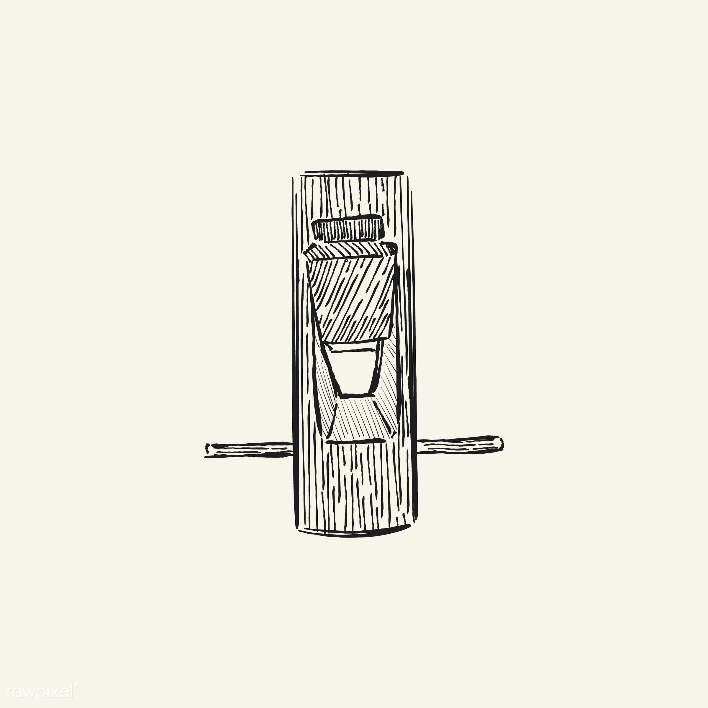 Vintage illustration of a carpenter tool - antique, black, carpenter, design, drawing, equipment, graphic, hand drawing,...