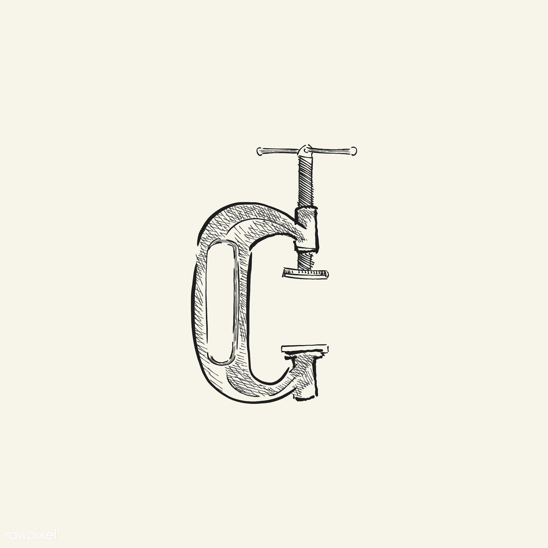 Vintage illustration of a carpenter tool - antique, black, c-clamp, carpenter, clamp, design, drawing, equipment, graphic,...