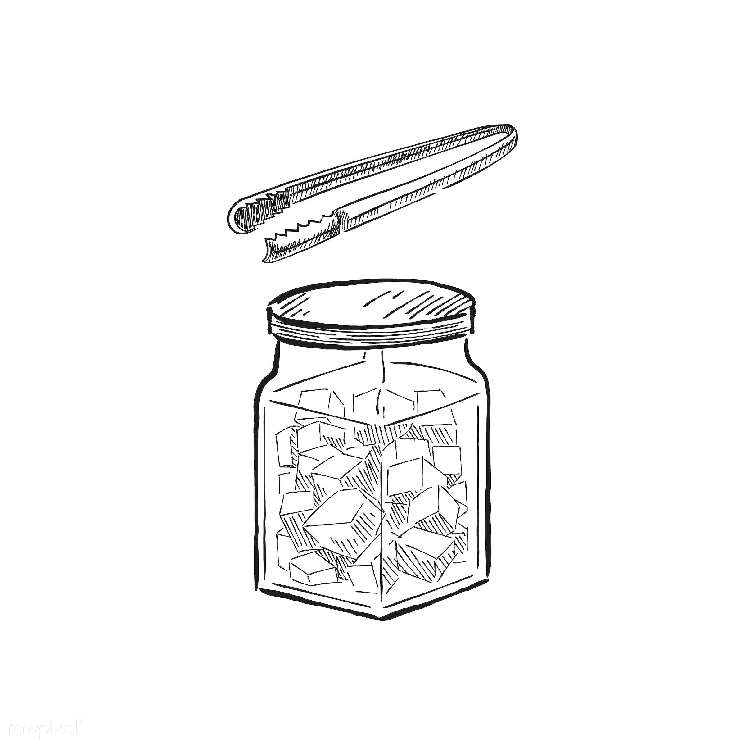 Vintage illustration of a jar with sugar cubes - antique, aroma, beverage, black, cafe, coffee, coffee shop, design, drawing...