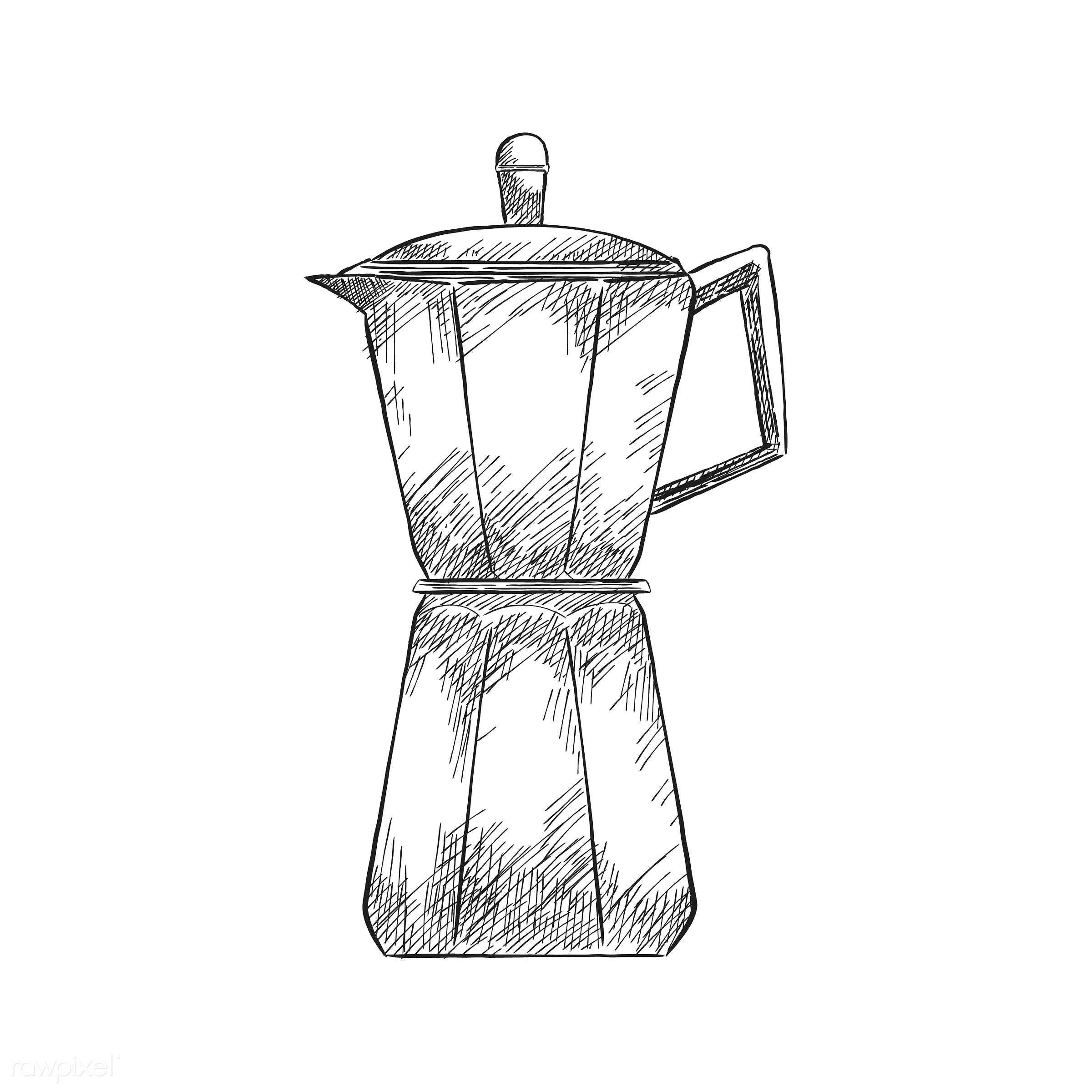 Vintage illustration of a coffee maker - antique, aroma, beverage, black, cafe, coffee, coffee maker, coffee pot, coffee...