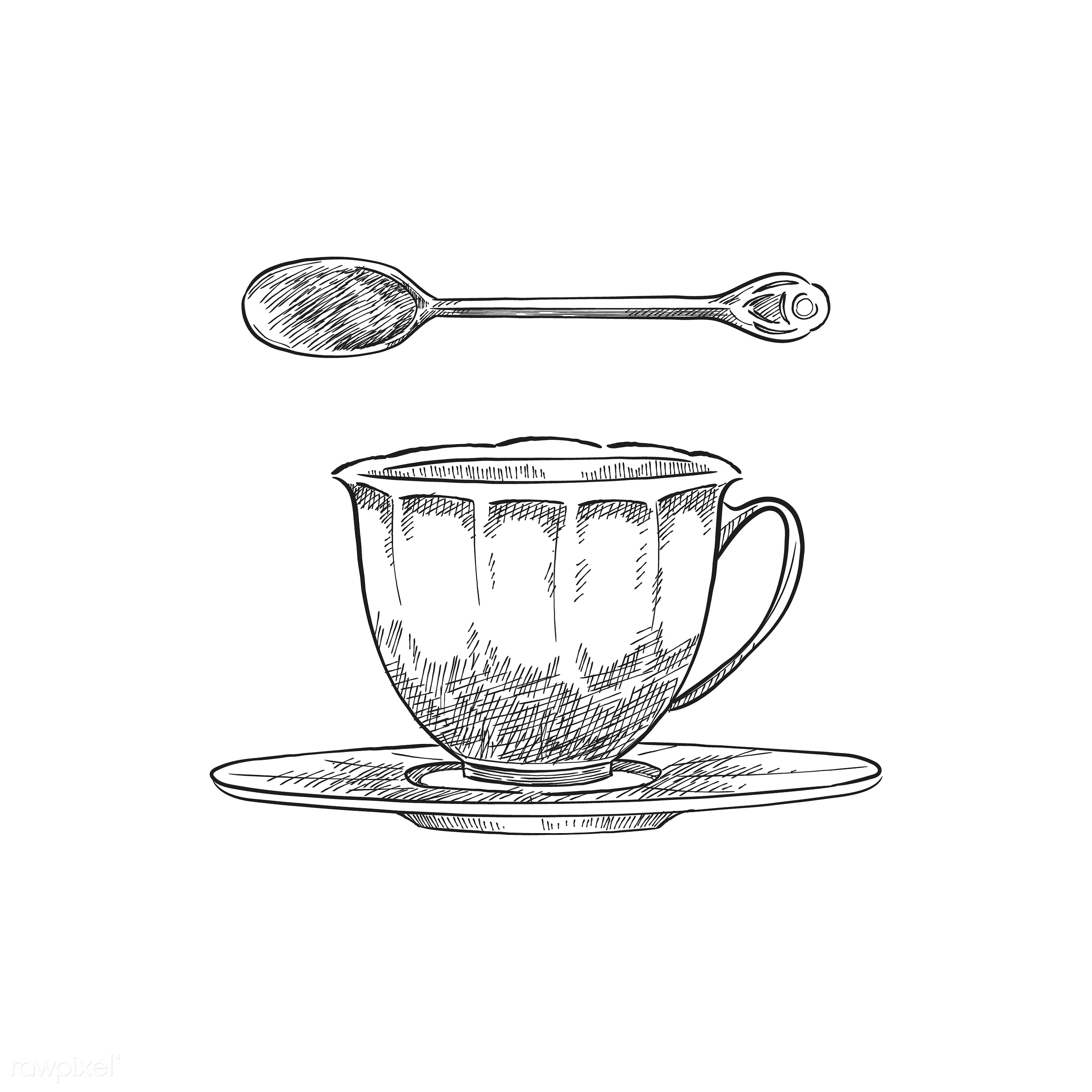 Vintage illustration of a teacup and teaspoon - cup, restaurant, antique, aroma, beverage, black, cafe, ceramic cup, design...