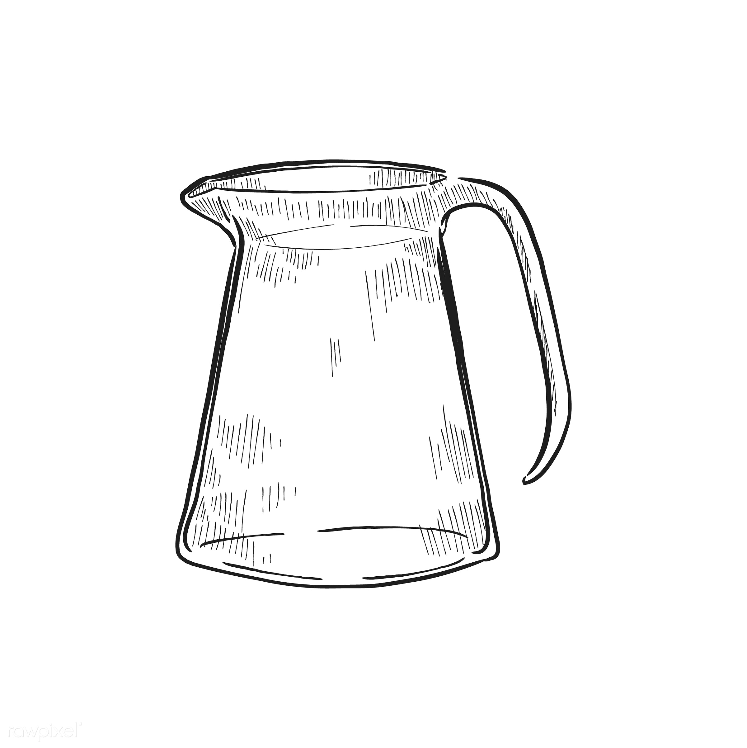 Vintage illustration of a pitcher - antique, aroma, beverage, black, cafe, coffee, coffee pot, coffee shop, design, drawing...