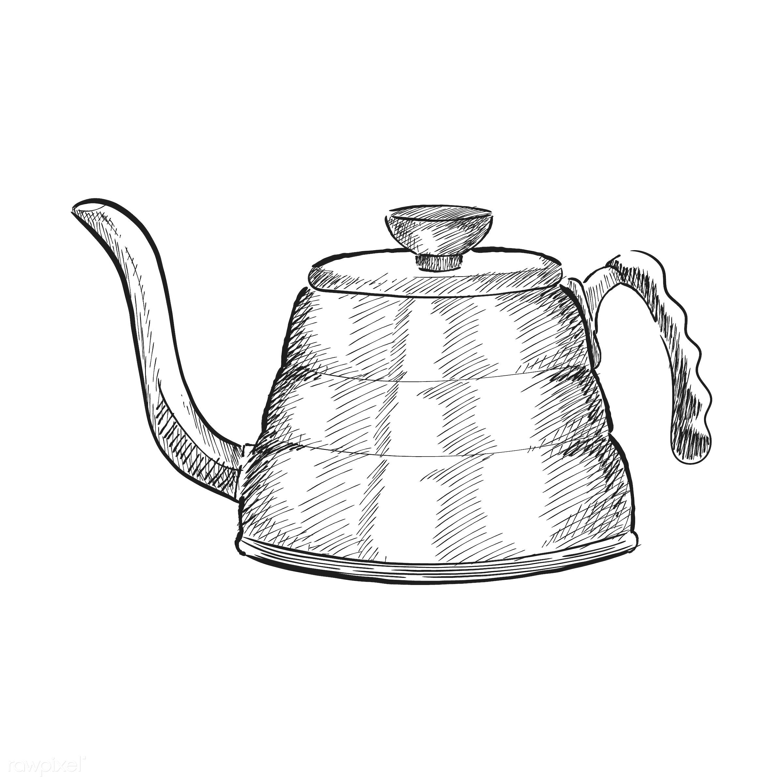 Vintage illustration of a tea kettle - antique, aroma, beverage, black, cafe, coffee, coffee pot, coffee shop, design,...