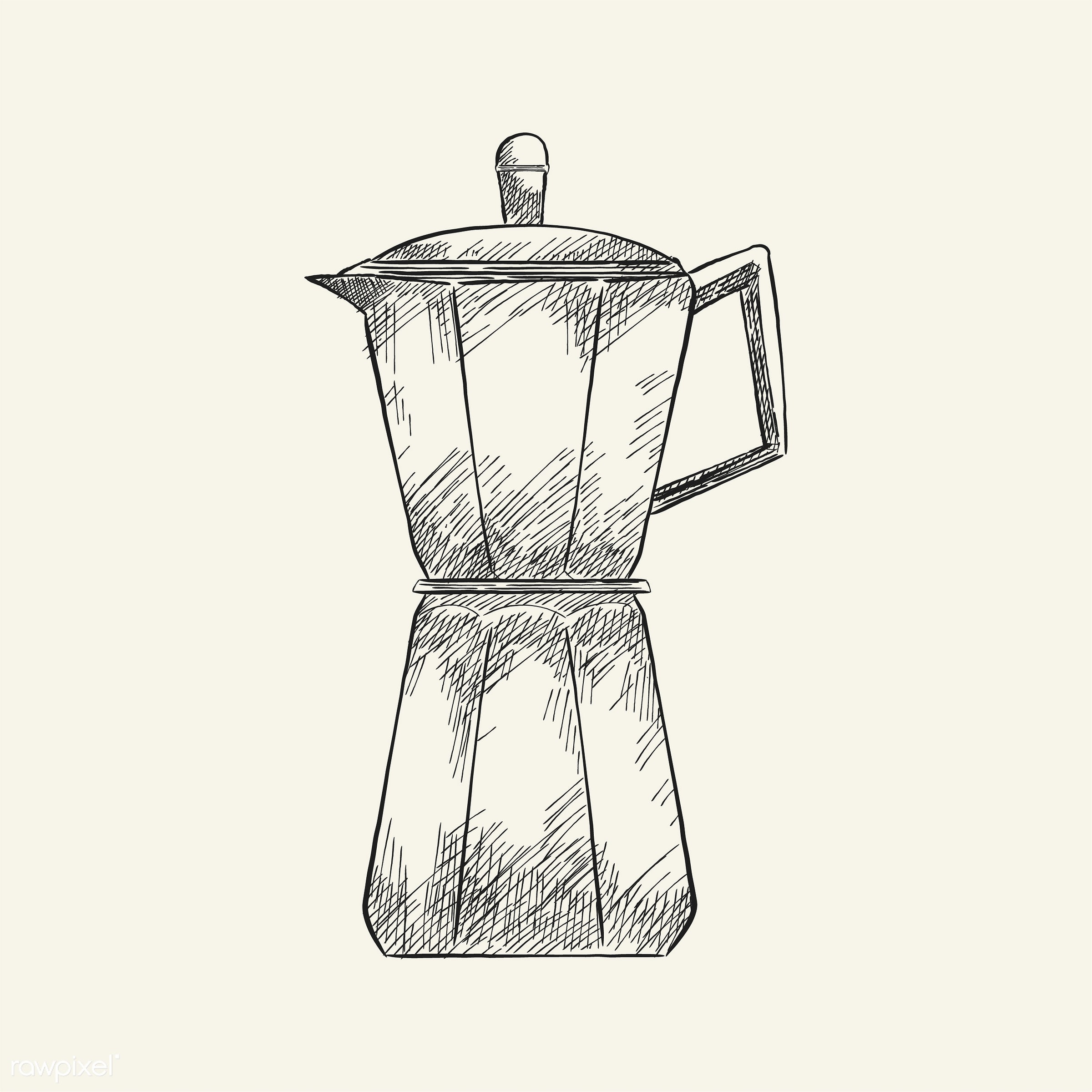 Vintage illustration of a coffee maker - restaurant, antique, aroma, beverage, black, cafe, coffee, coffee maker, coffee pot...