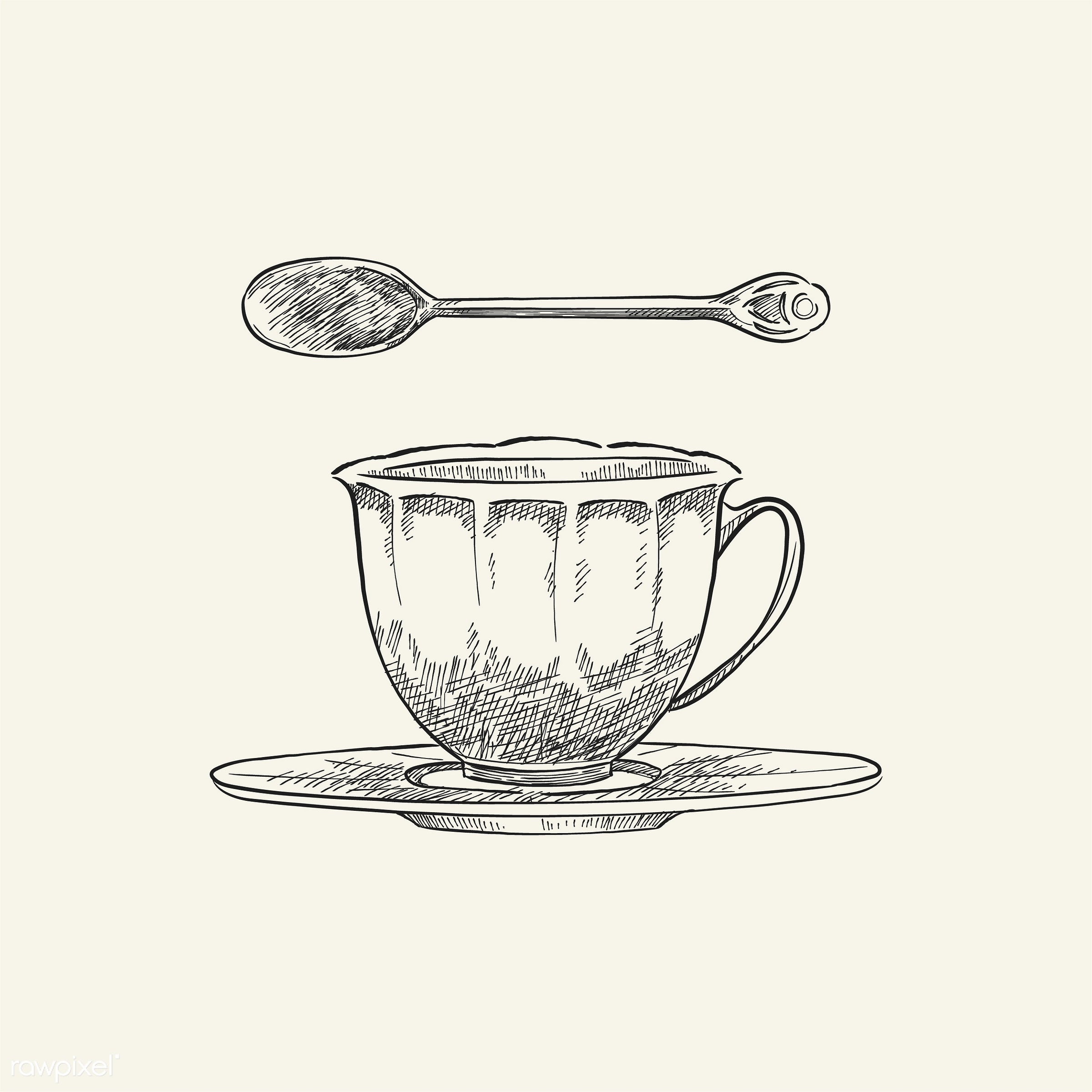 Vintage illustration of a teacup and teaspoon - cafe, cup, antique, aroma, beverage, black, ceramic cup, design, drawing,...