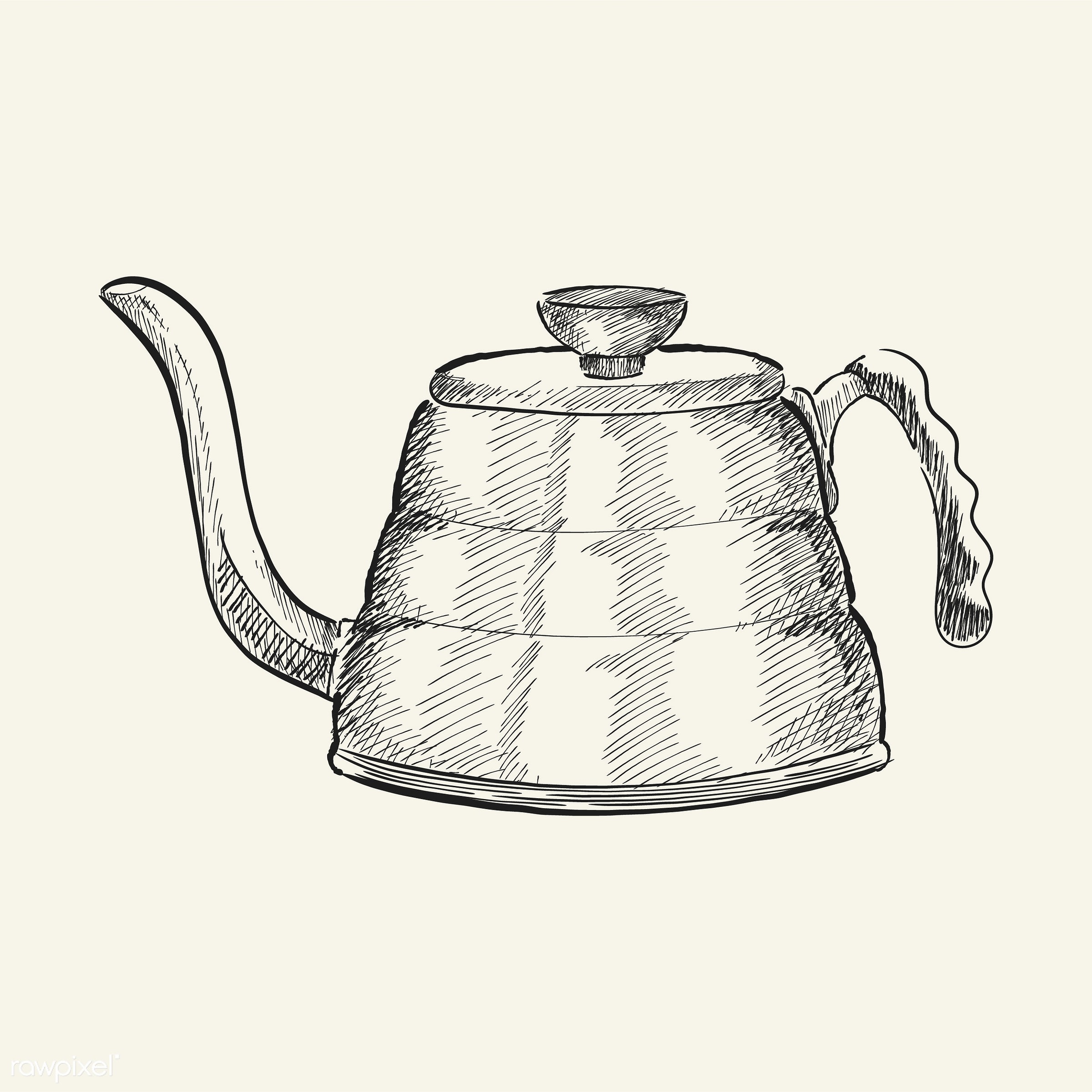 Vintage illustration of a tea kettle - antique, aroma, beverage, black, cafe, coffee, coffee pot, coffee shop, design,...