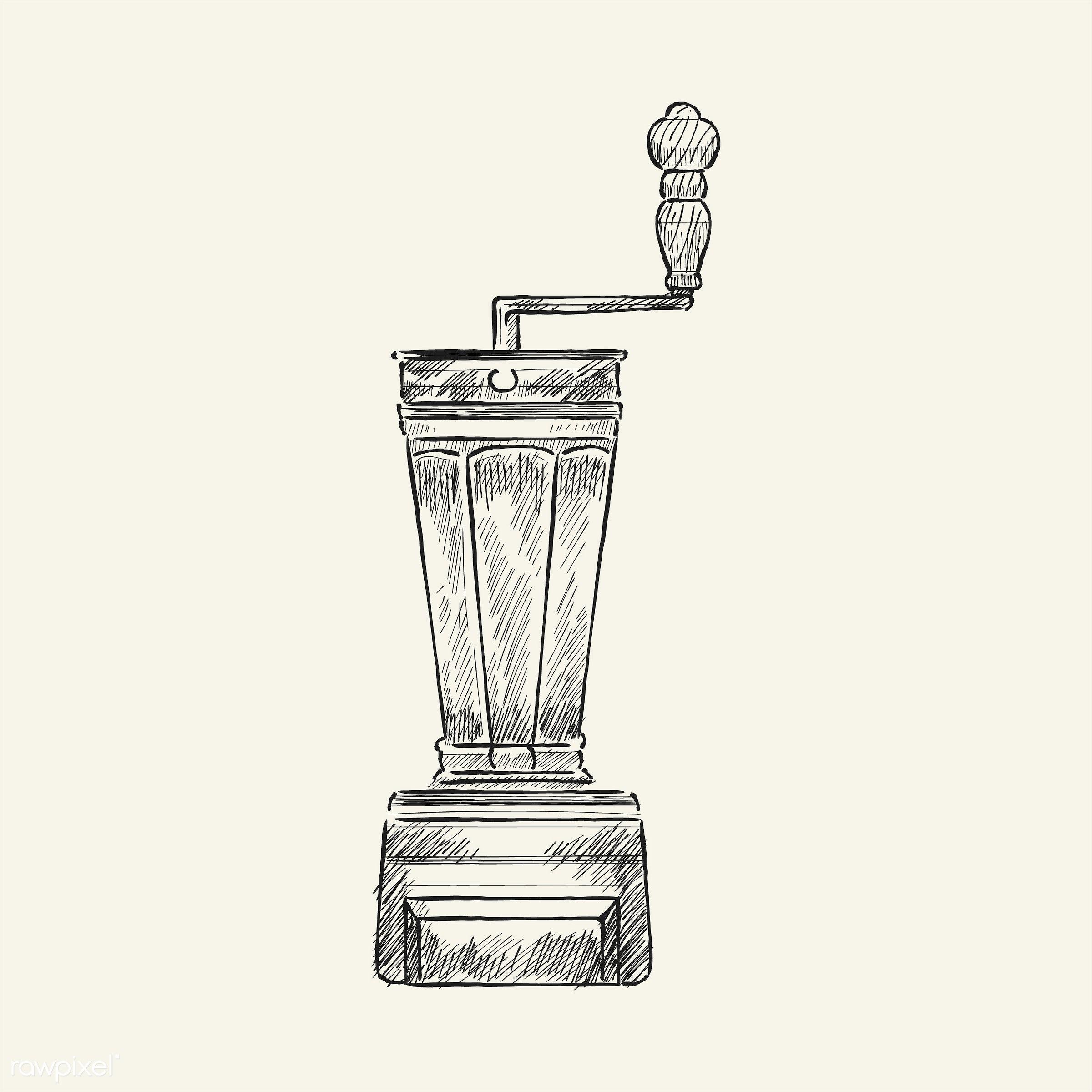 Vintage illustration of a coffee grinder - antique, aroma, beverage, black, cafe, coffee, coffee grinder, coffee shop,...