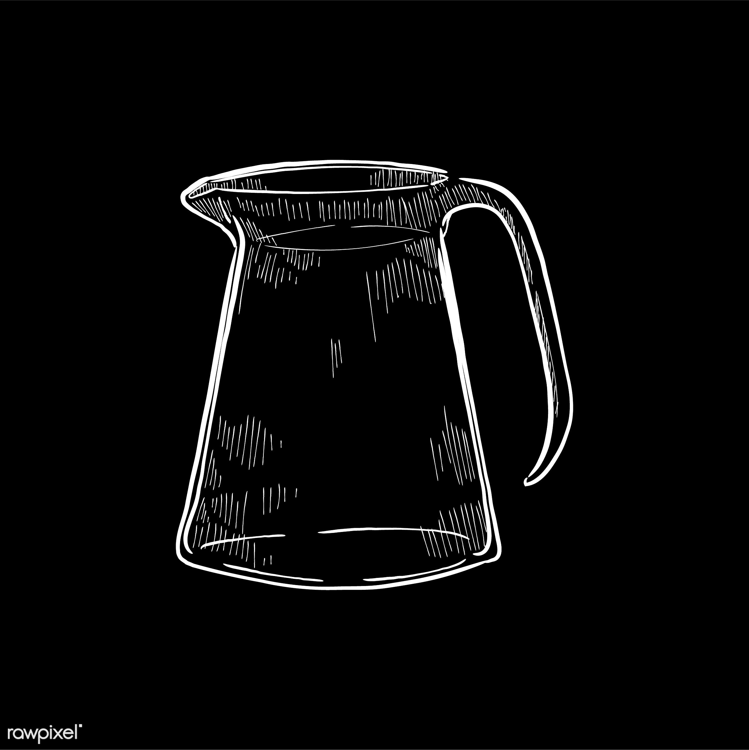 Vintage illustration of a pitcher - coffee, antique, aroma, beverage, black, cafe, coffee pot, coffee shop, design, drawing...
