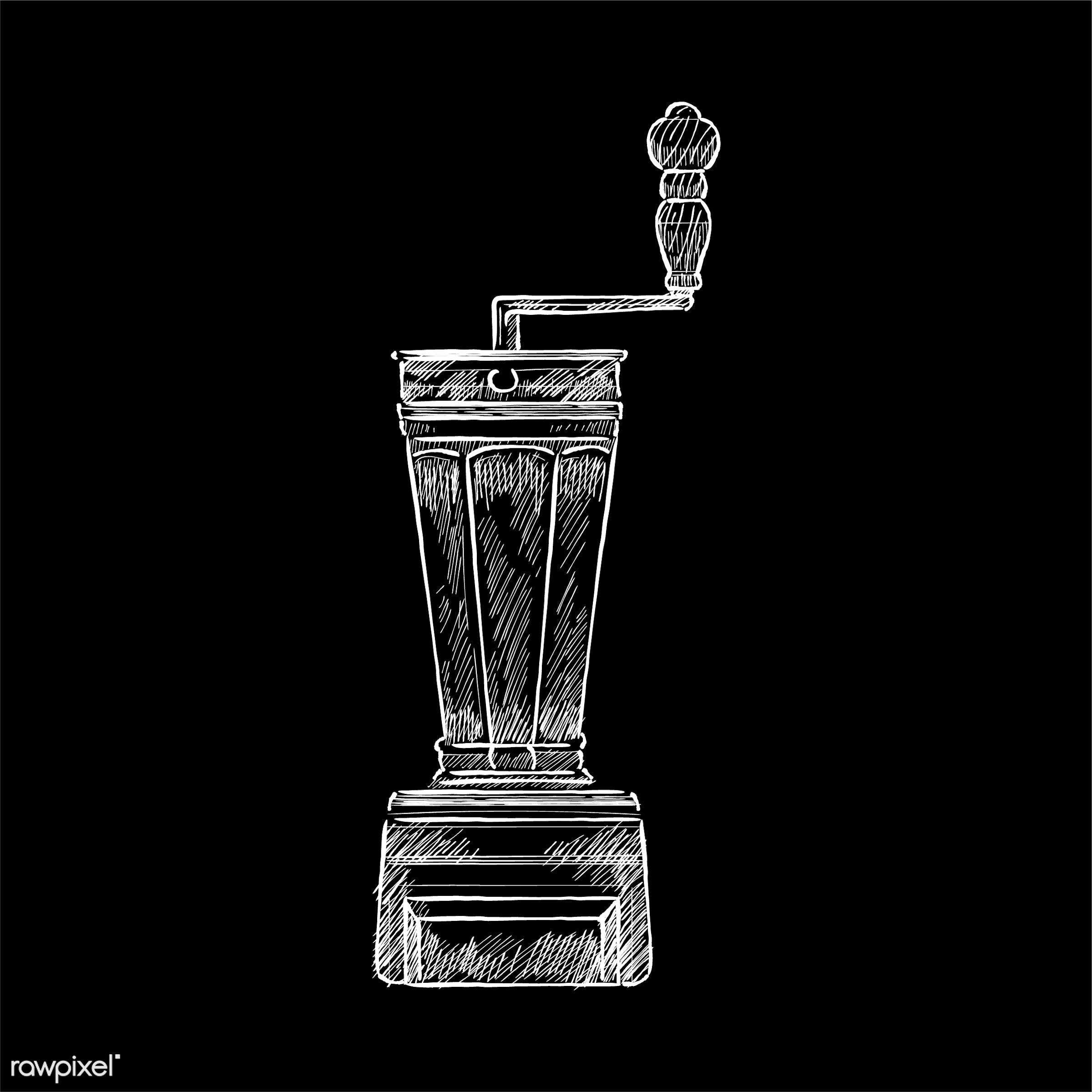 Vintage illustration of a coffee grinder - coffee, antique, aroma, beverage, black, cafe, coffee grinder, coffee shop,...