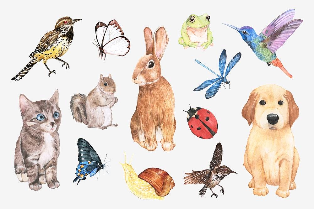 Cute animals psd element sticker in watercolor