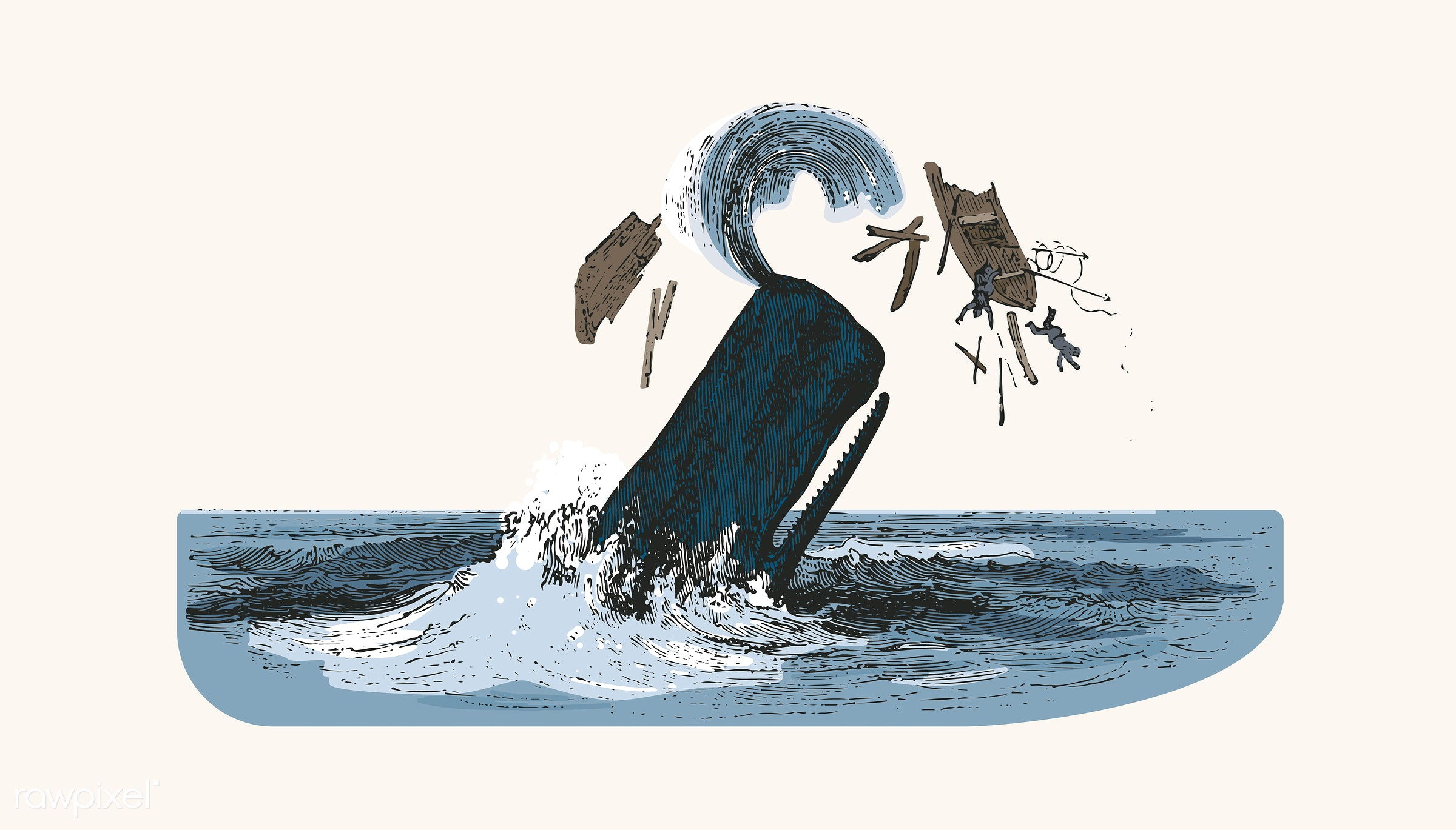 Illustration of the sperm whale while attacking fishing boat - ship, vector, ocean, shipwreck, story, animal, antique,...