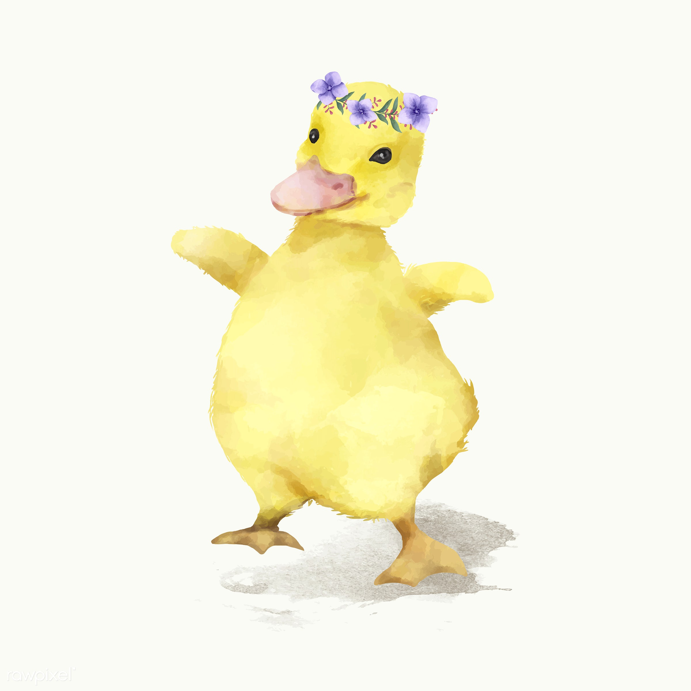 Illustration of a duck - baby, duck, mammal, vector, watercolored, animals, cheerful, child, color, colored, creature, cute...