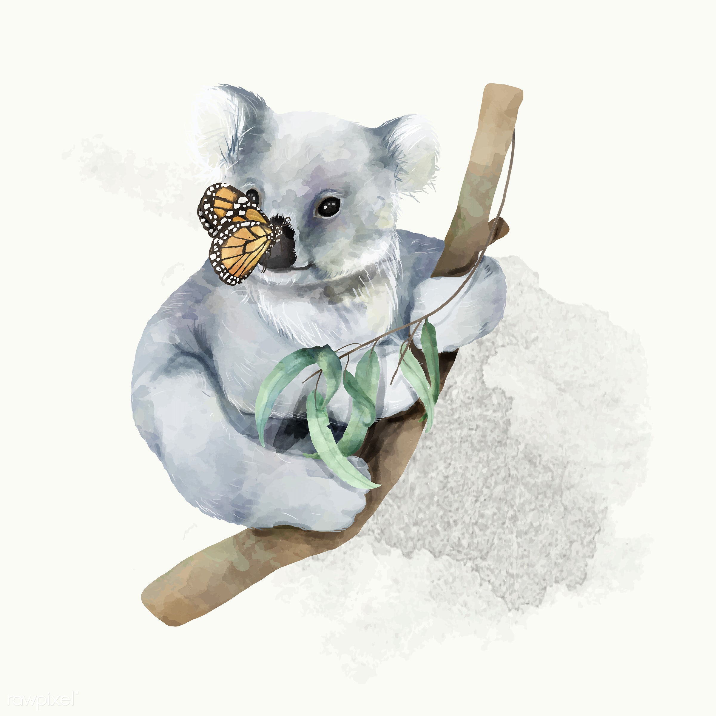 Illustration of a baby koala - koala, mammal, animals, baby, cheerful, child, color, colored, creature, cute, fun, graphic,...