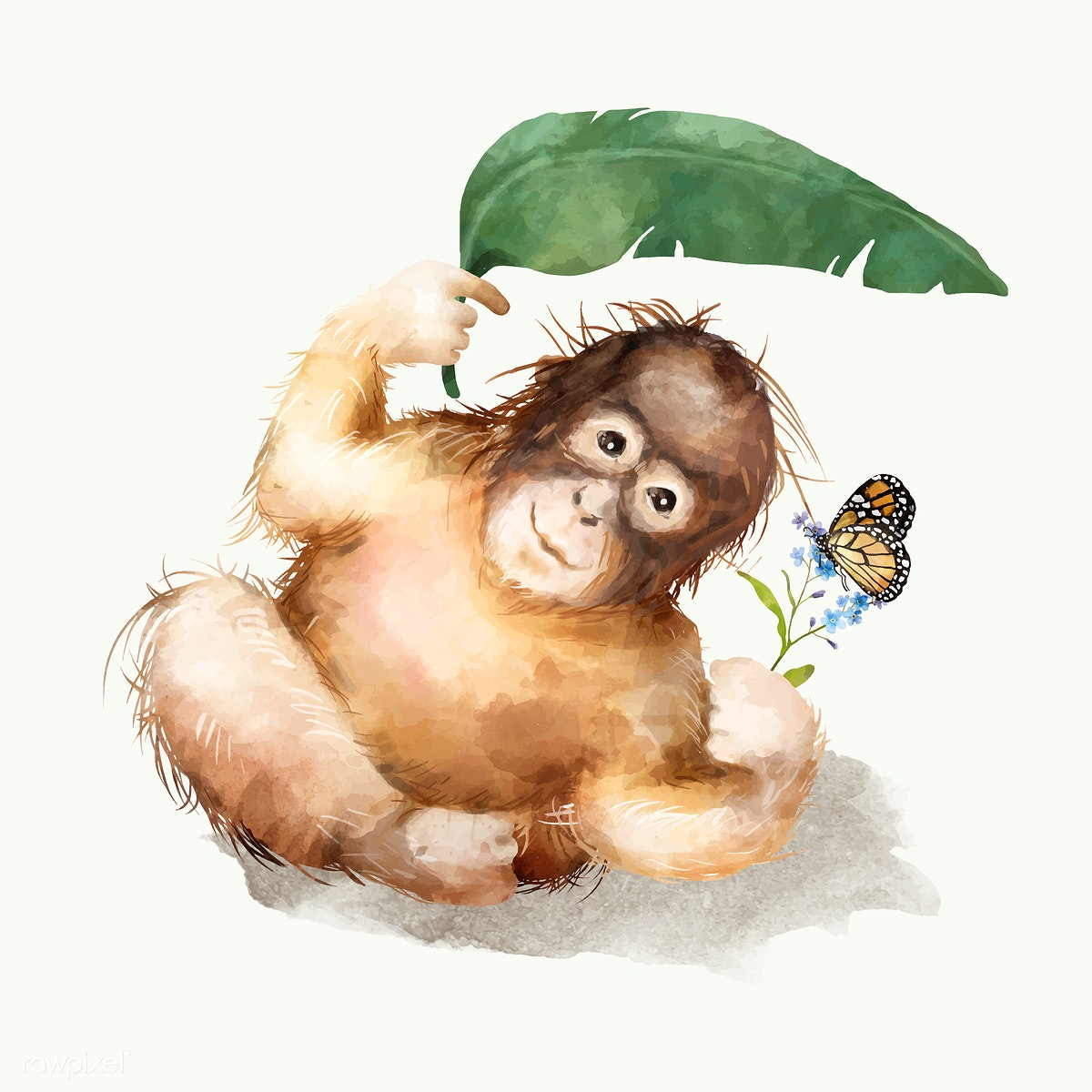 Download premium vector of Illustration of a baby chimpanzee 325131