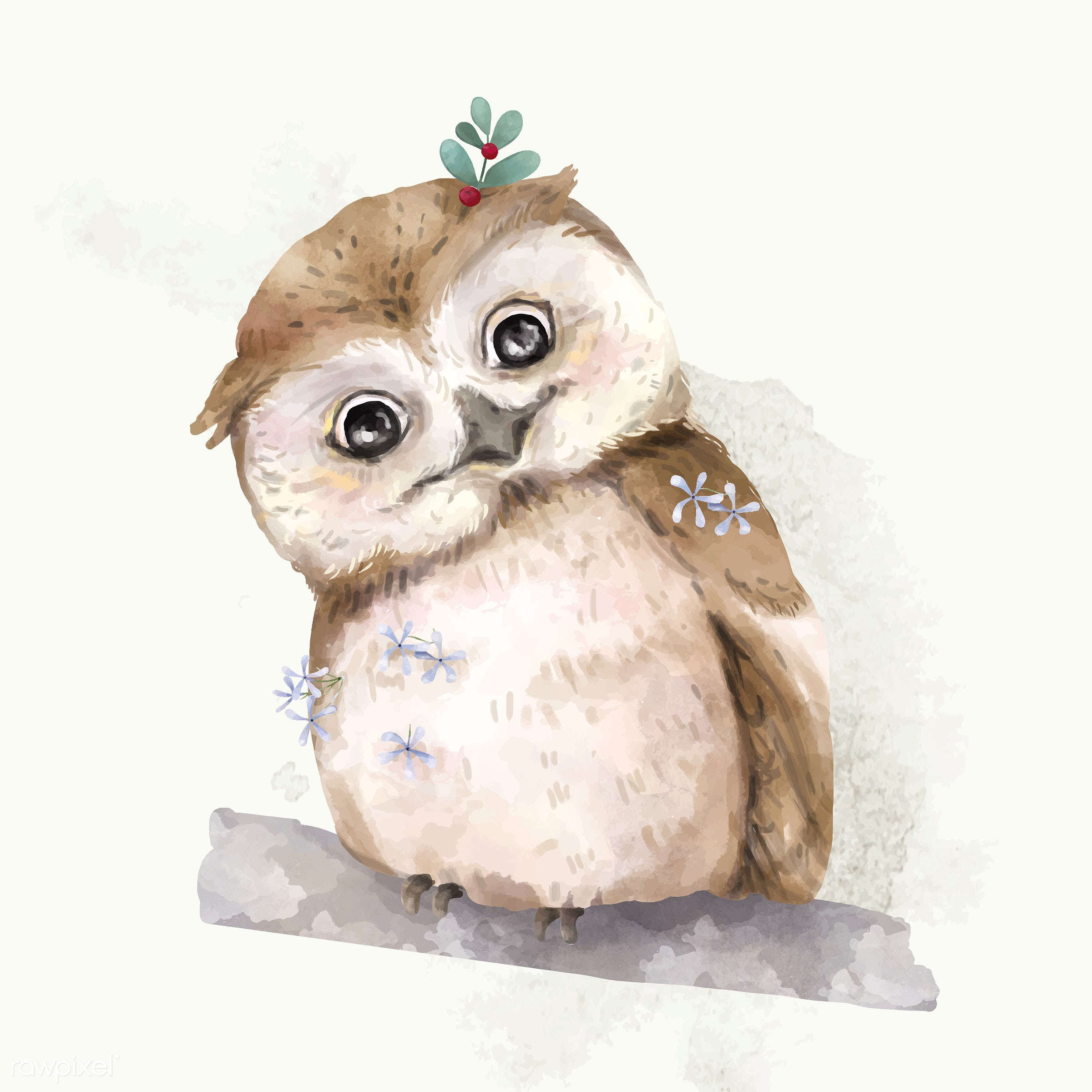 Illustration of a baby owl - watercolor, owl, color, mammal, animals, baby, cheerful, child, colored, creature, cute, fun,...