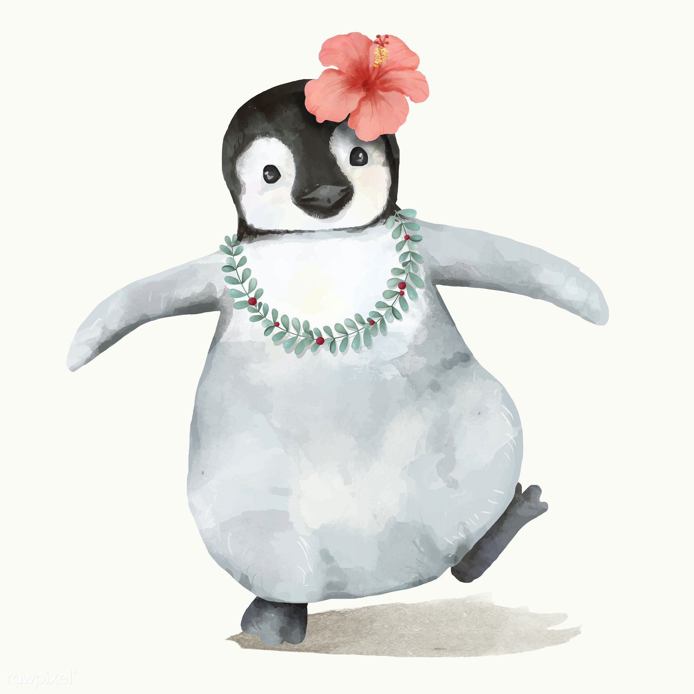 Illustration of a baby penguine - animals, baby, cheerful, child, color, colored, creature, cute, fun, graphic, happy,...