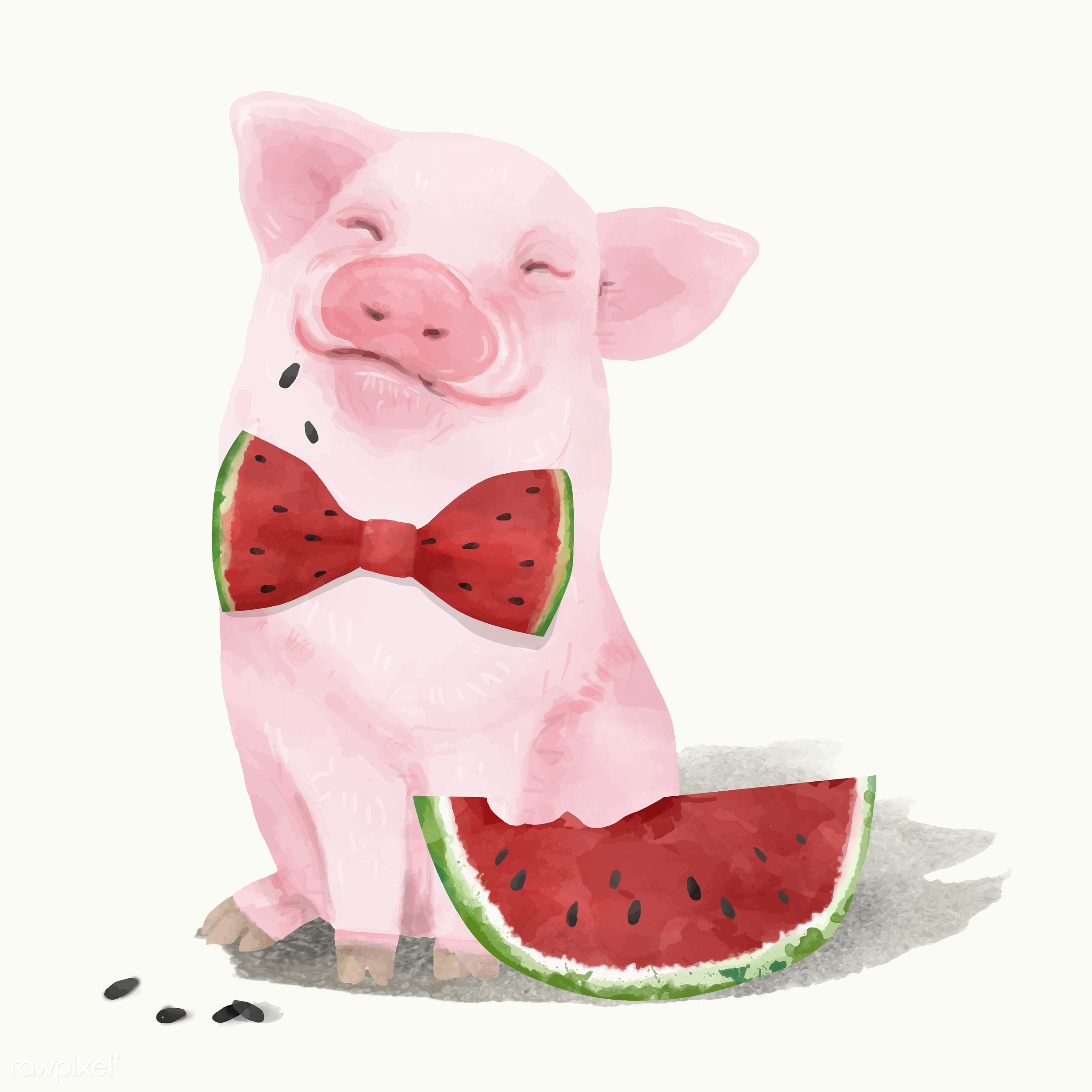 Illustration of a piglet - vector, piglet, pig, mammal, watercolored, animals, baby, cheerful, child, color, colored,...