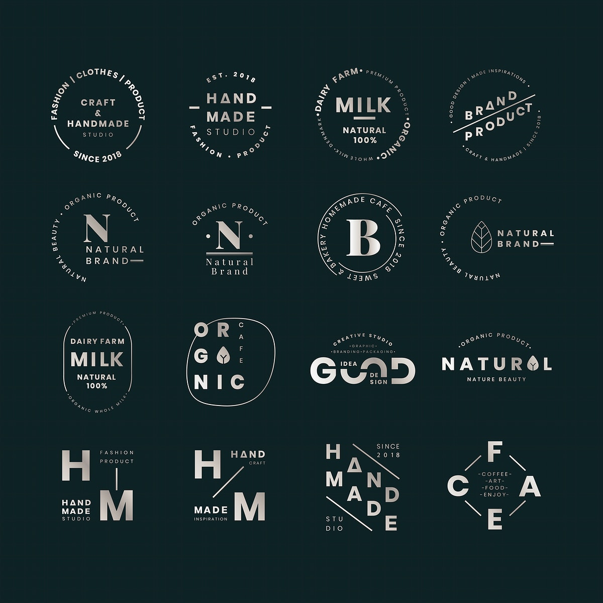 Brand logo badges vector set