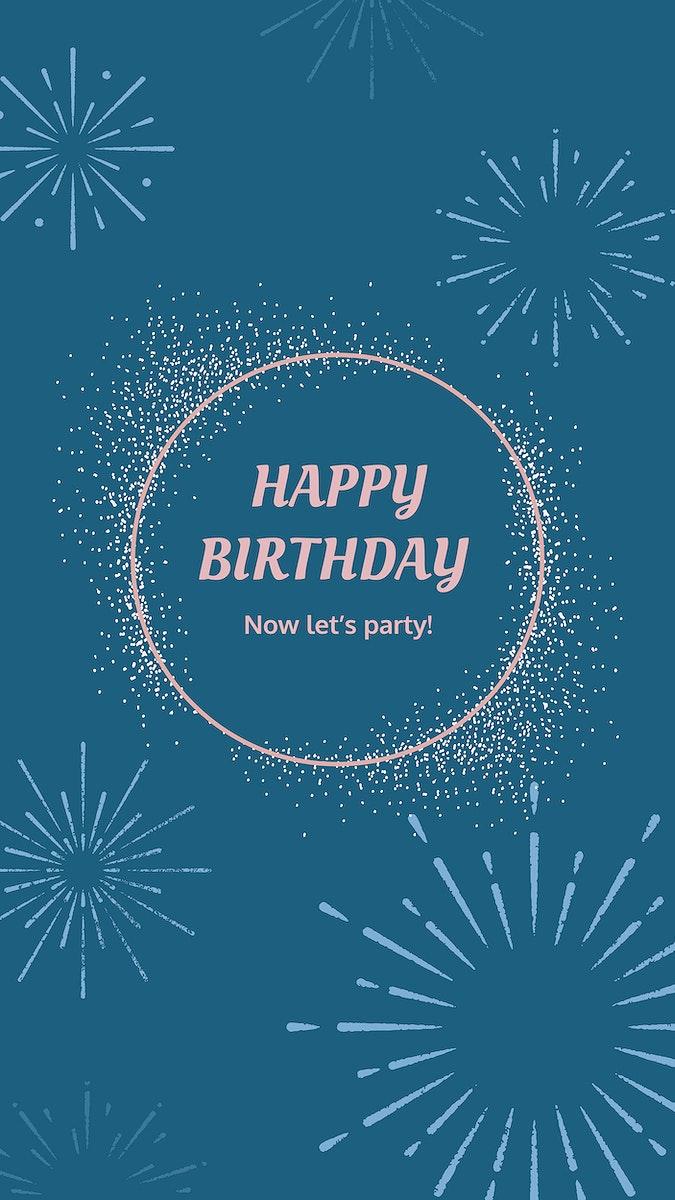 Blue birthday greeting template vector with burst firework illustration
