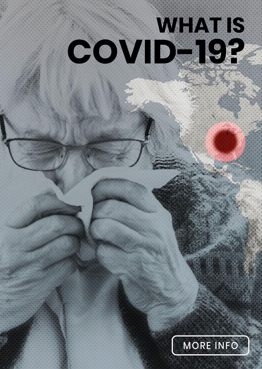 Coronavirus infected senior woman sneezing in a tissue paper social template vector