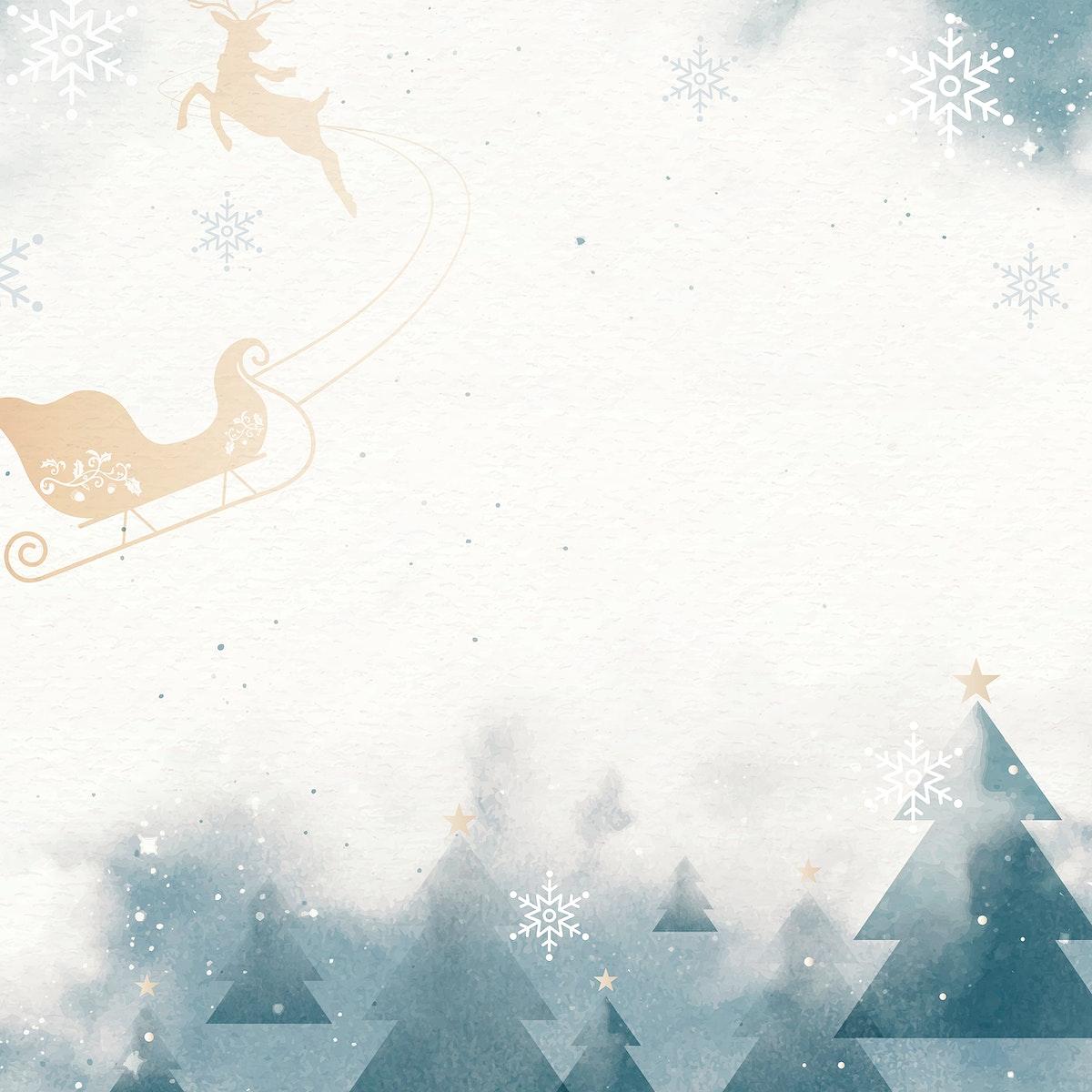 Sleigh with reindeer over winter landscape vector