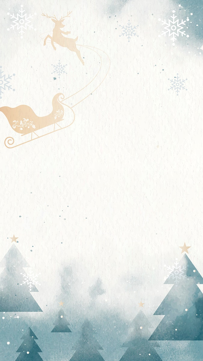 Sleigh with reindeer over winter landscape mobile phone wallpaper vector