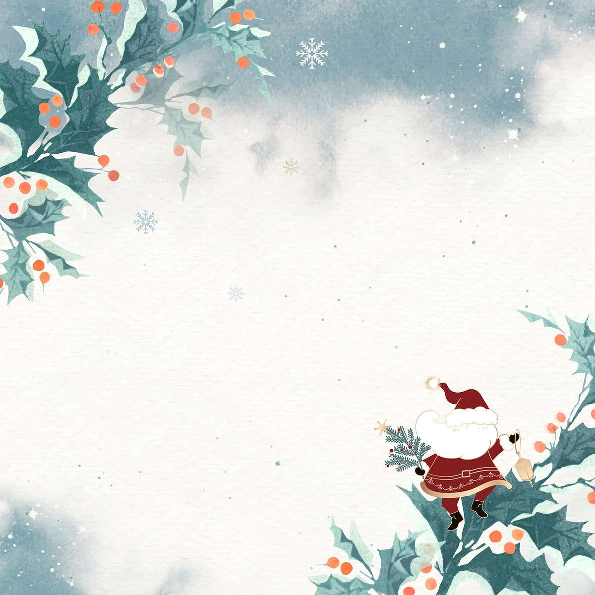 Santa Claus with holly berries doodle background vector