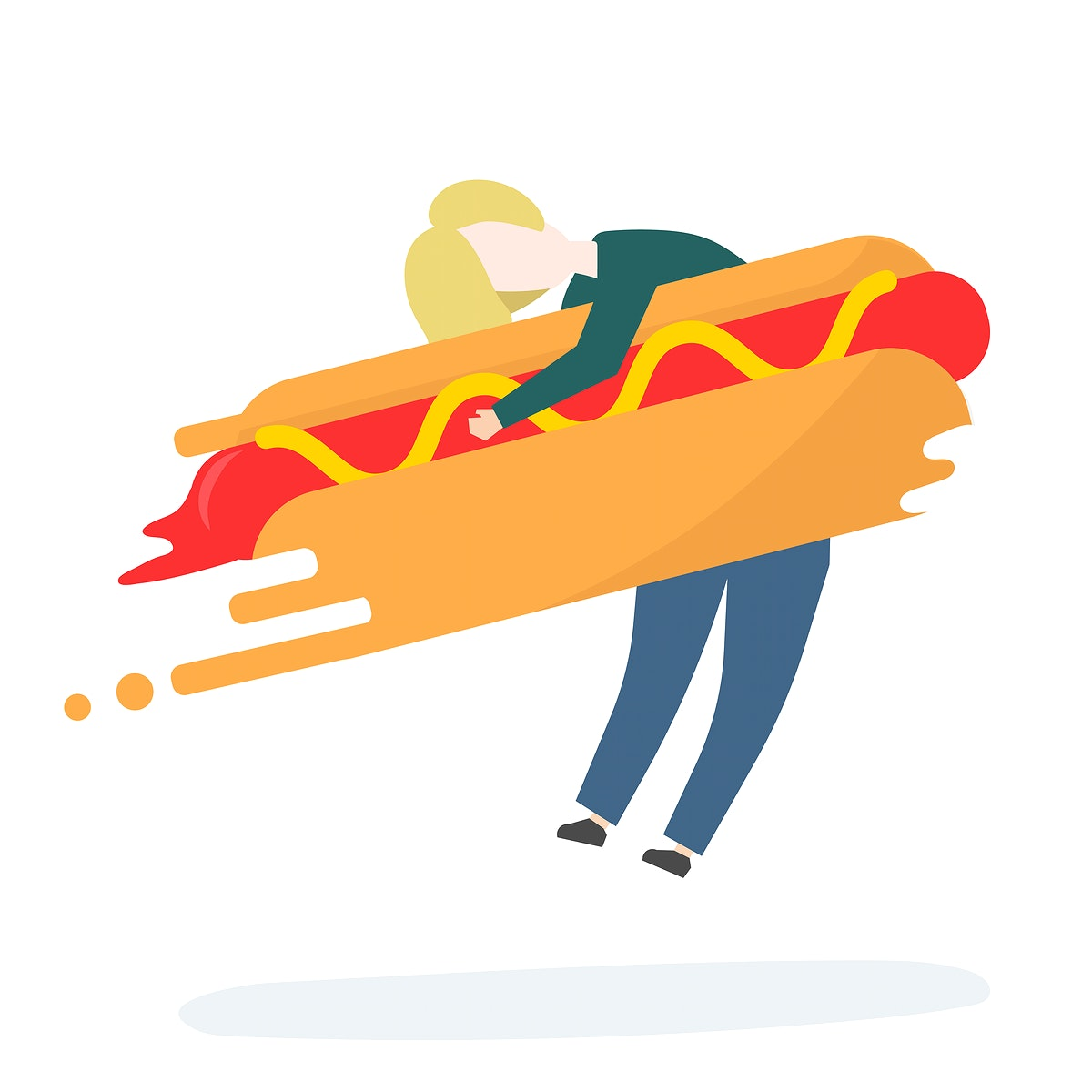 Illustration of character with fast food
