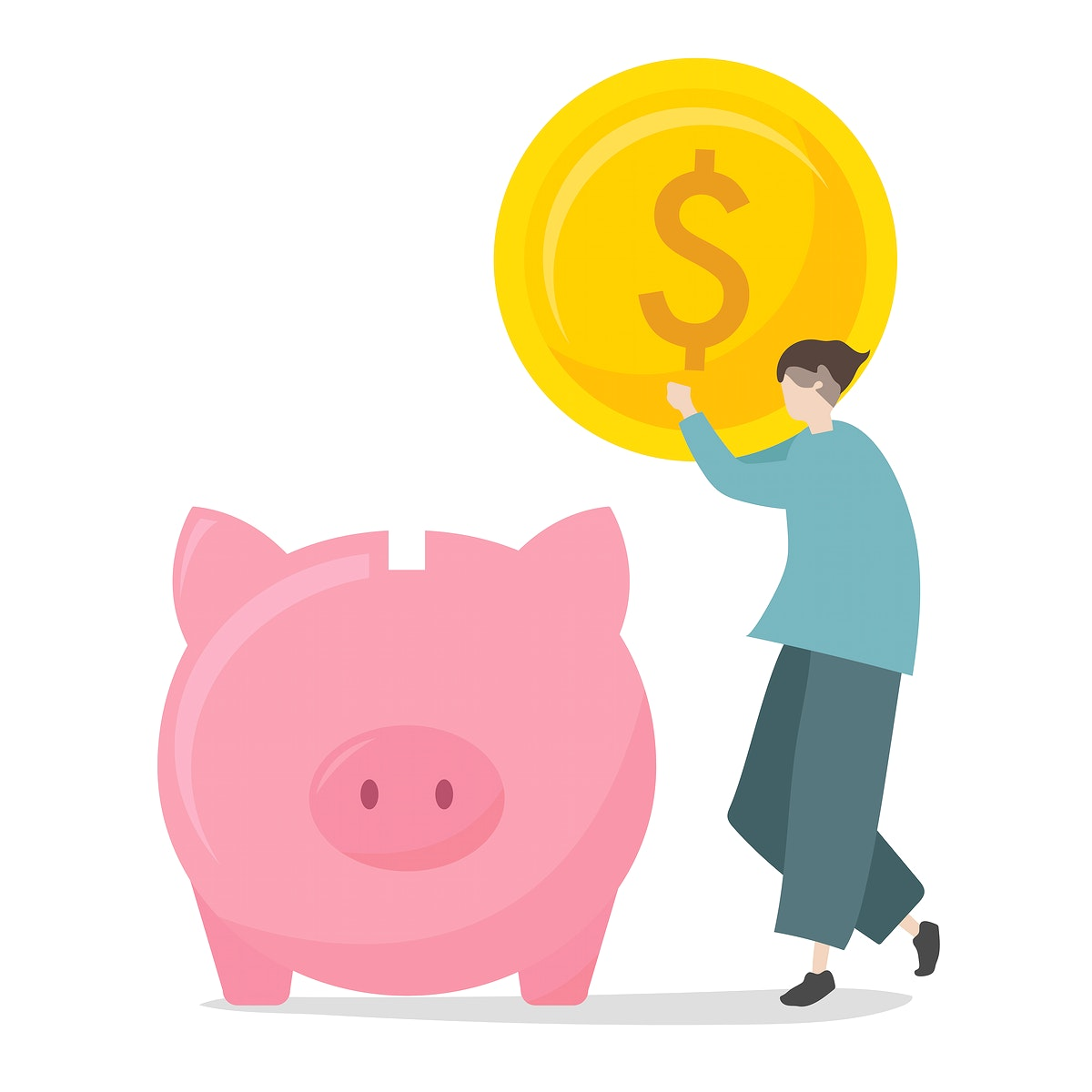 Illustration of character saving in piggy bank
