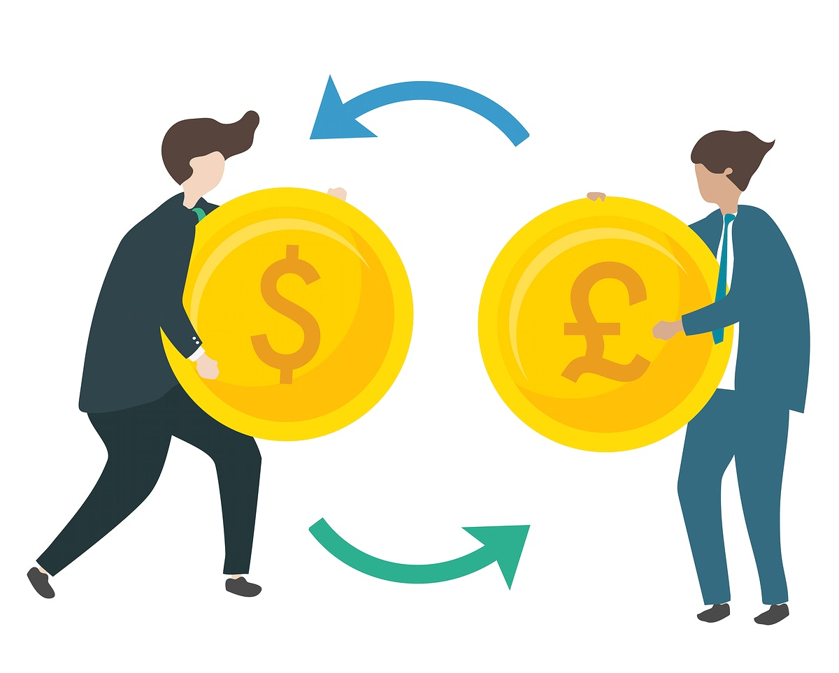 Illustration of characters exchanging currency