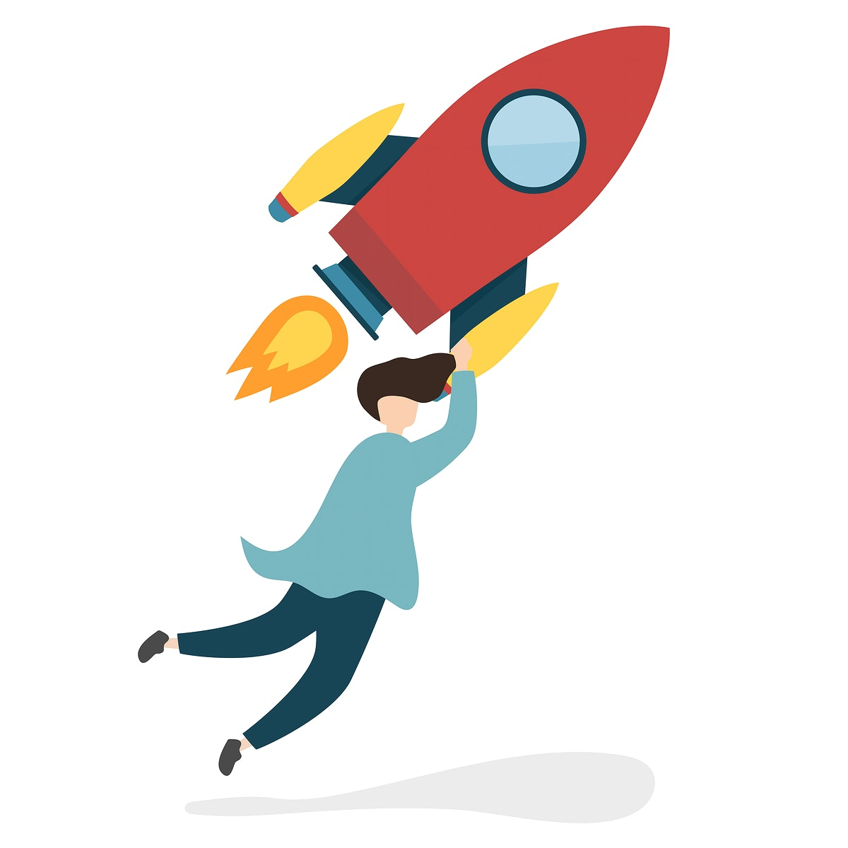 Illustration of a character with a flying rocket ship