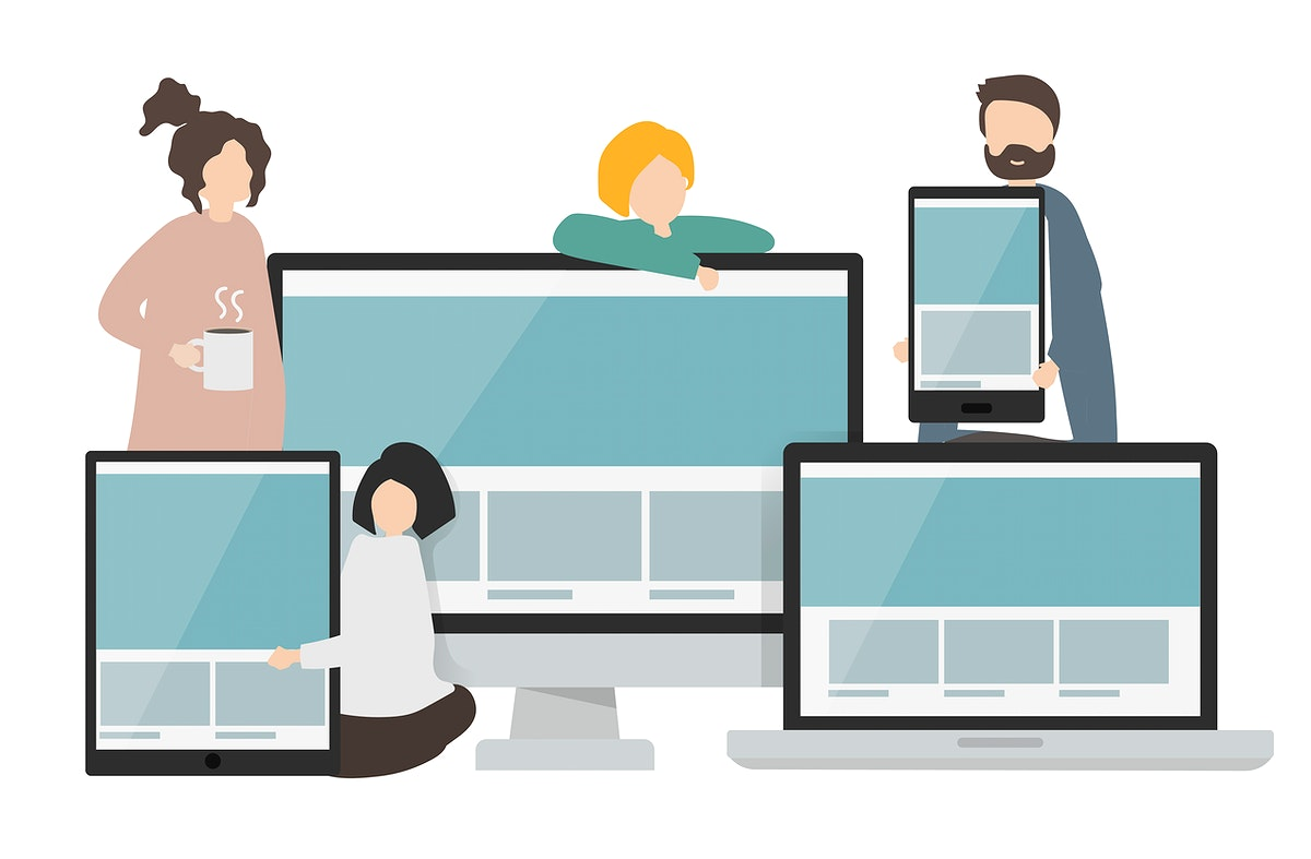 Illustration of characters and web templates