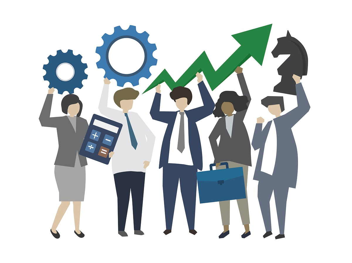 Business people with strategy and growth concept