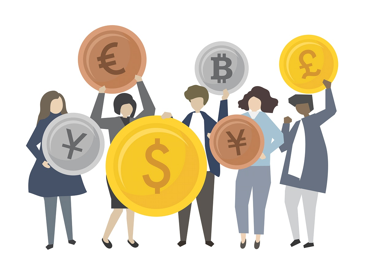 People with financial icons illustration