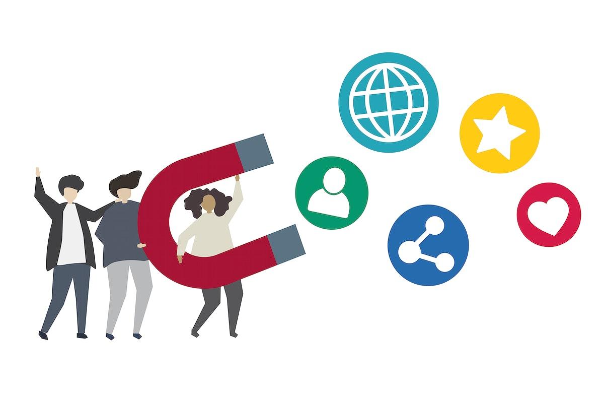Social network marketing concept illustration
