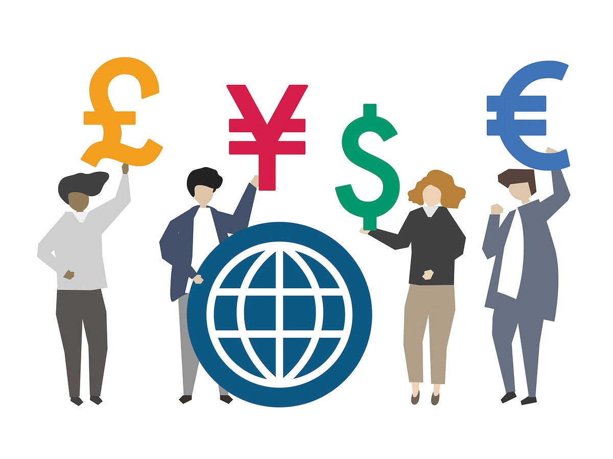 People holding global currency symbol illustration