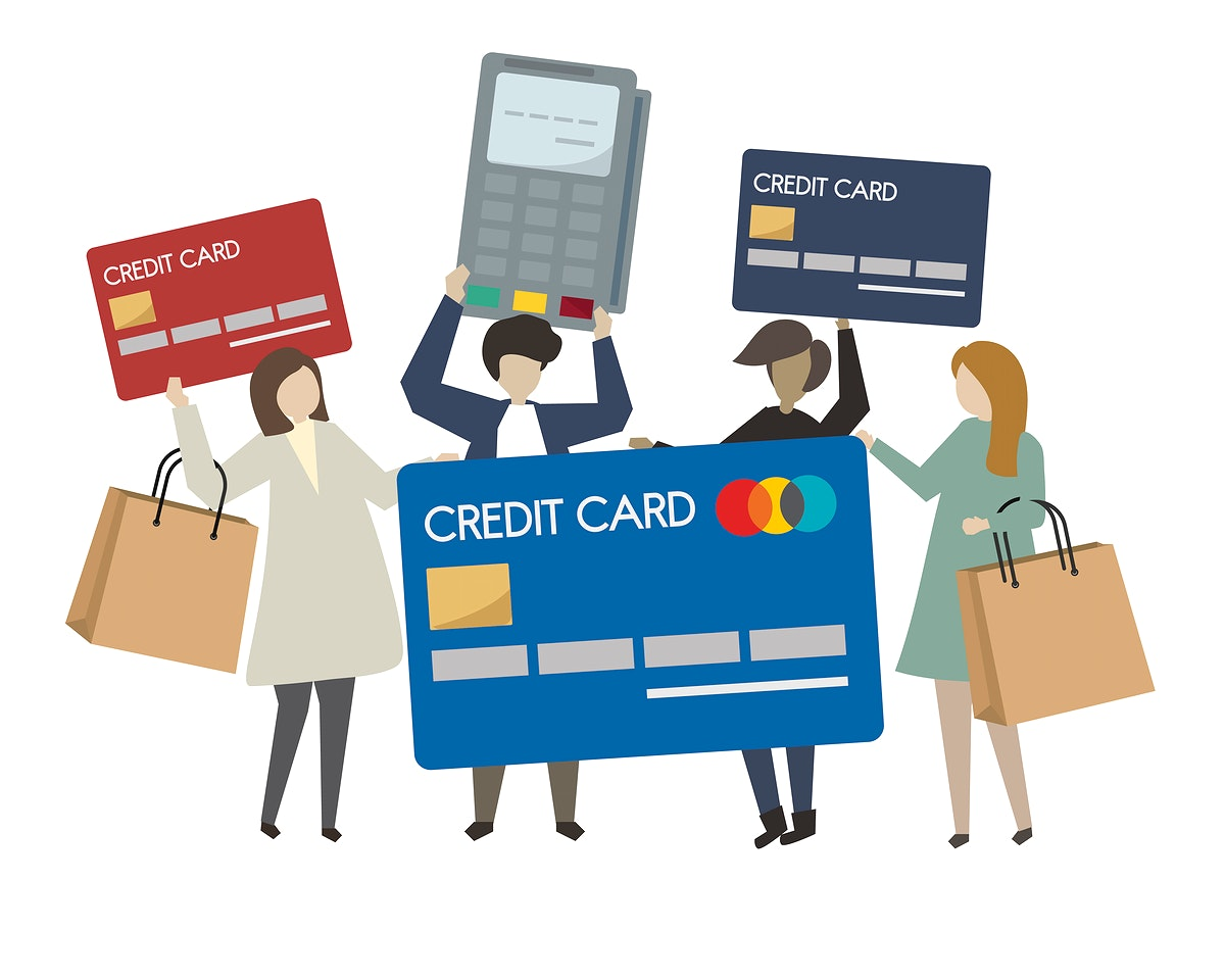 People shopping with credit card illustration