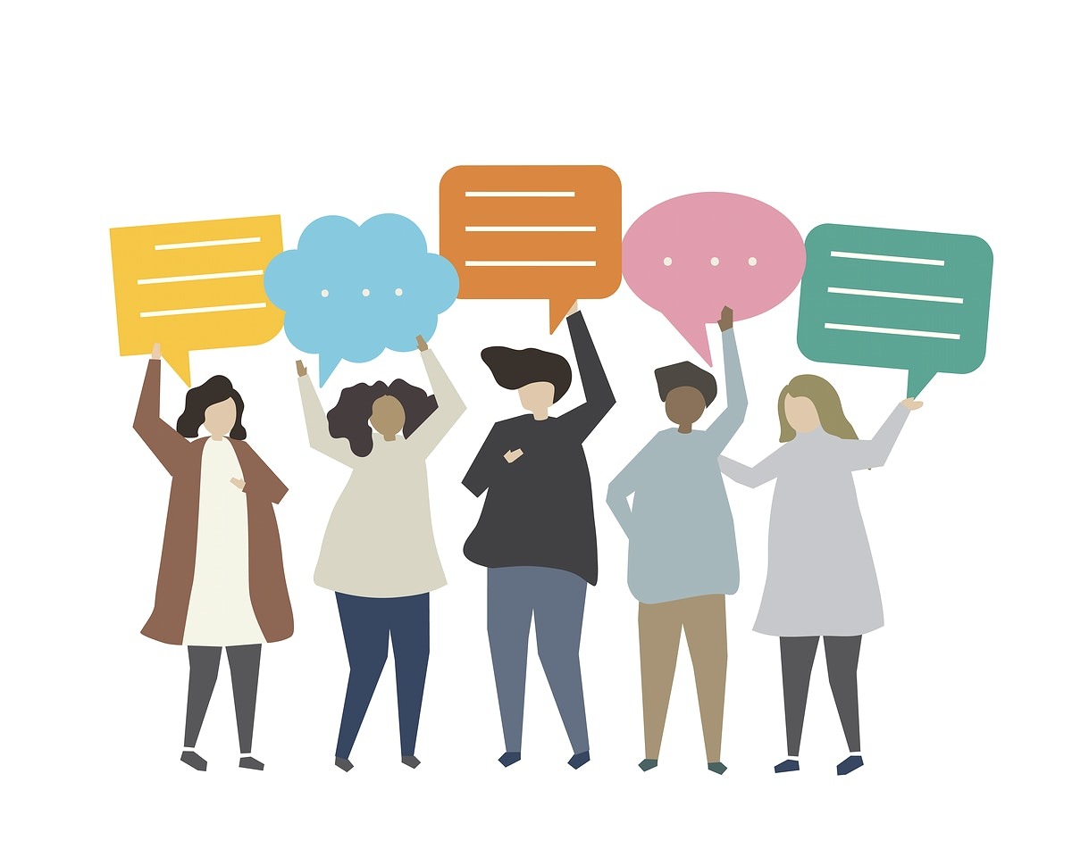 People carrying speech icons illustration