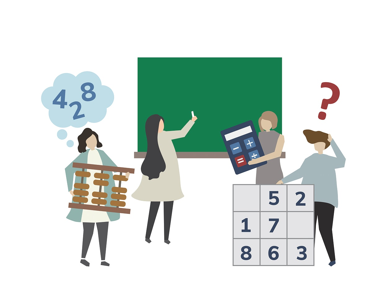 People in a mathematic class illustration