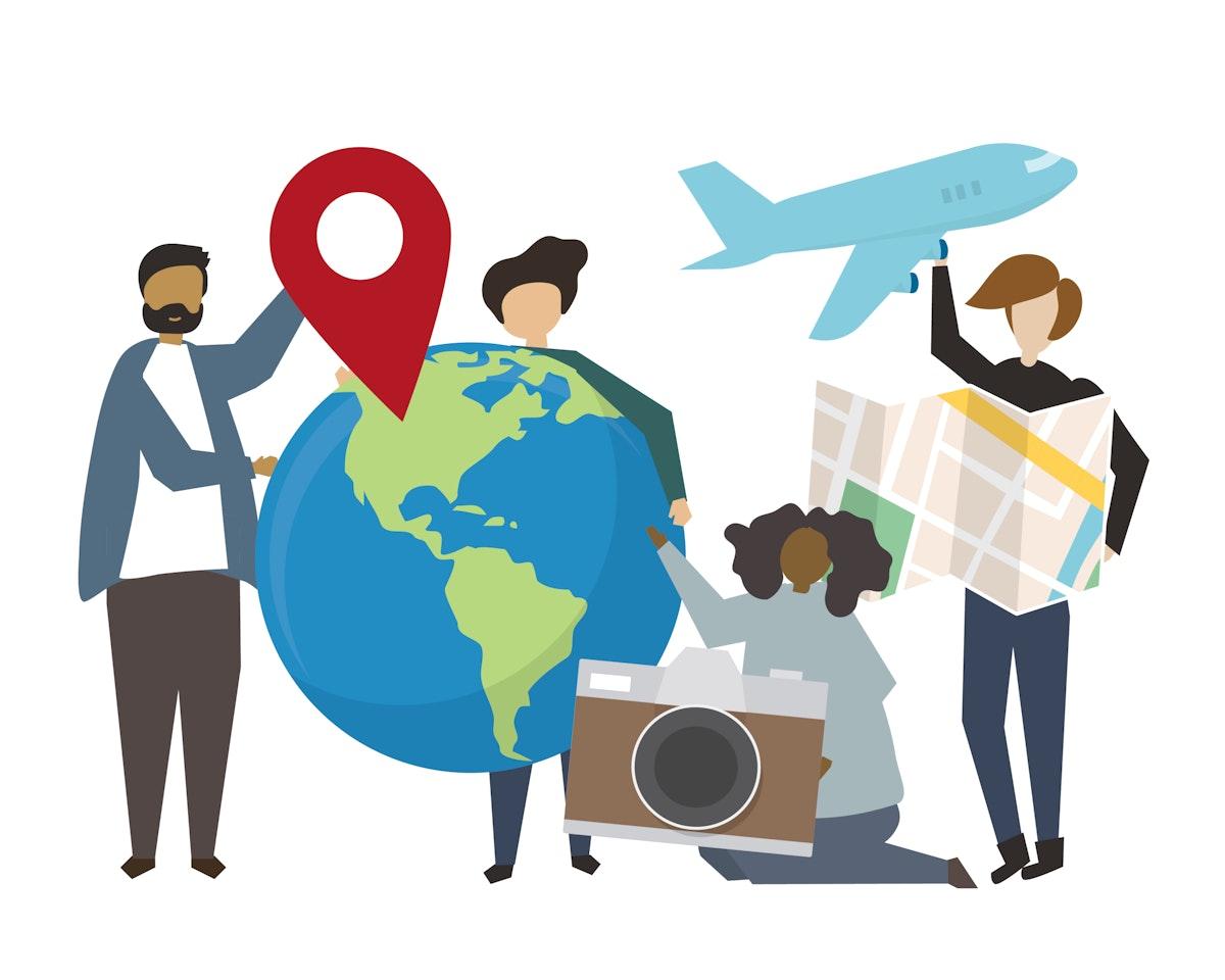 People holding international travel concept icons illustration