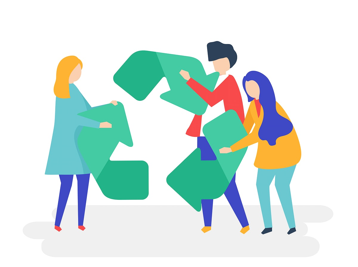 Character of people holding a recycle symbol illustration